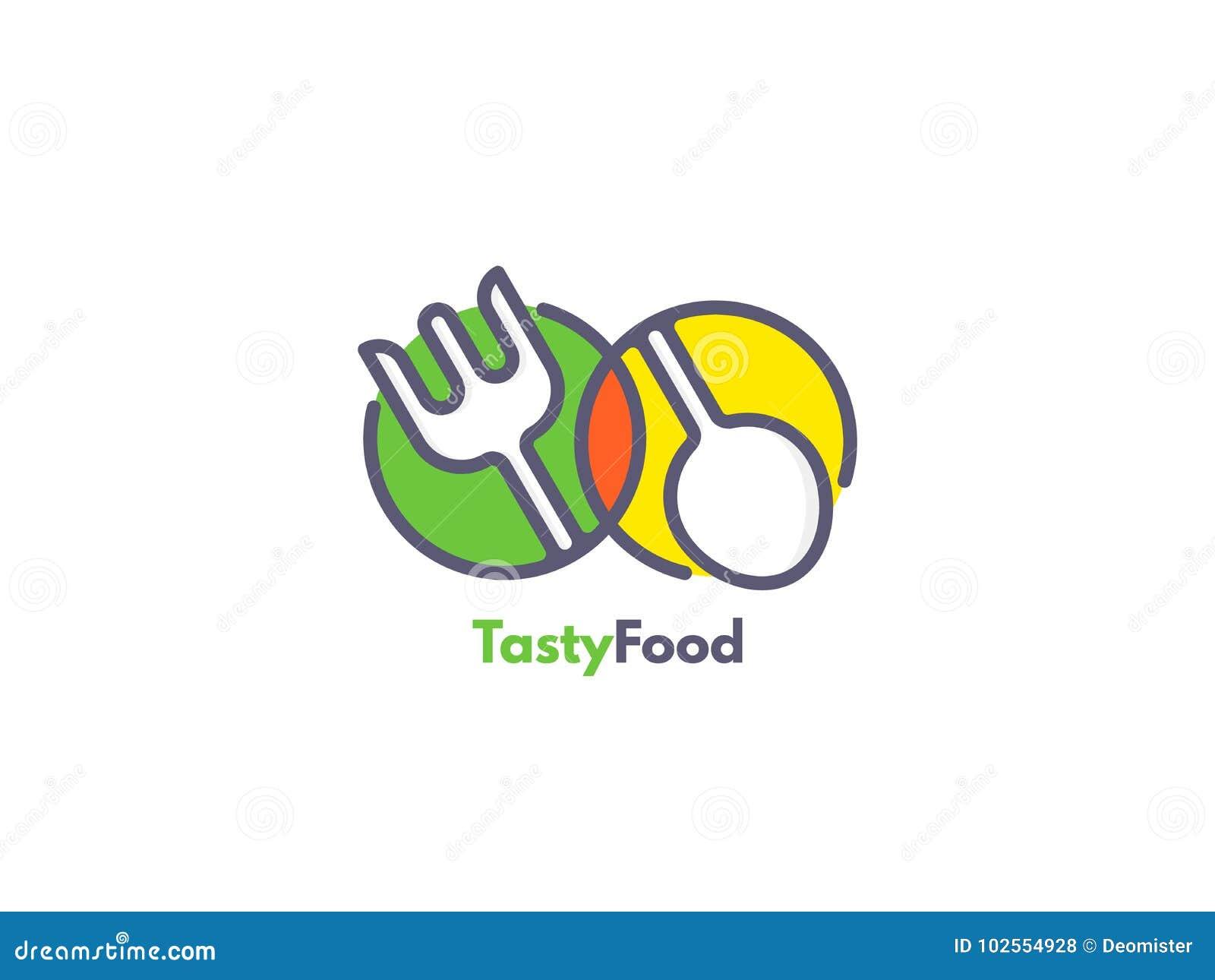 Логотип еды любит значок Вилка и ложка внутри кругов Концепция ресторанного обслуживании