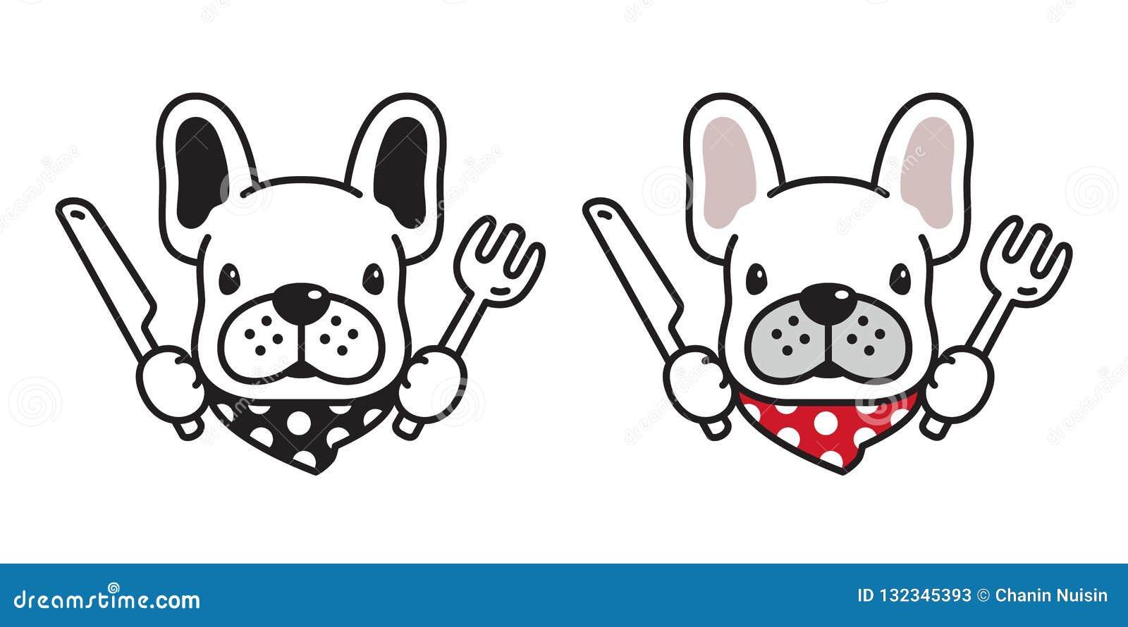 Логотип значка французского бульдога собаки есть иллюстрацию персонажа из мультфильма шарфа вилки ножа еды