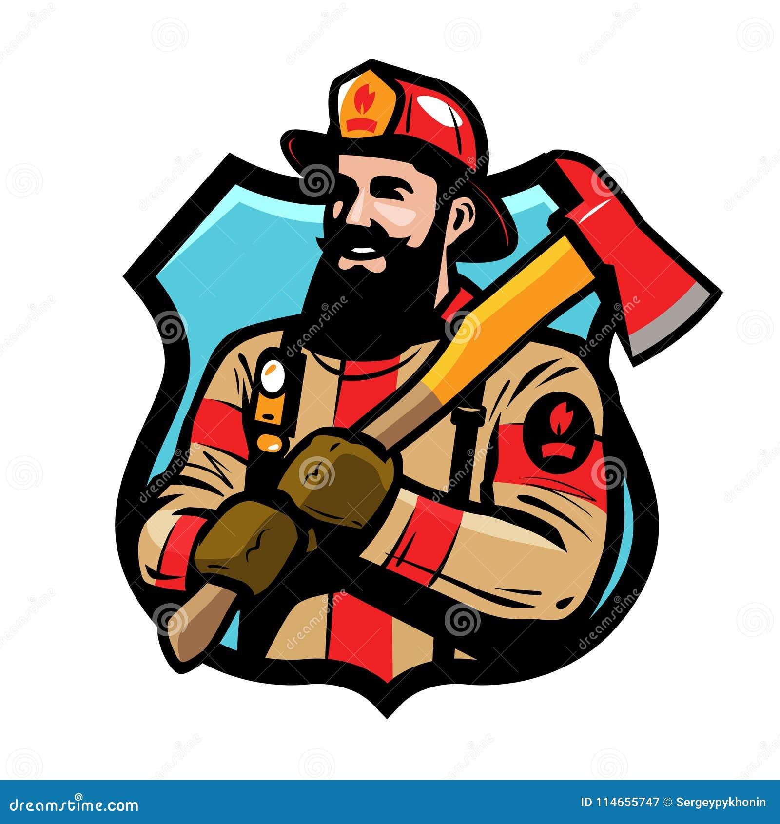Логотип или ярлык отделения пожарной охраны Американский пожарный, пожарный в шлеме держит ось в его руках Вектор шаржа