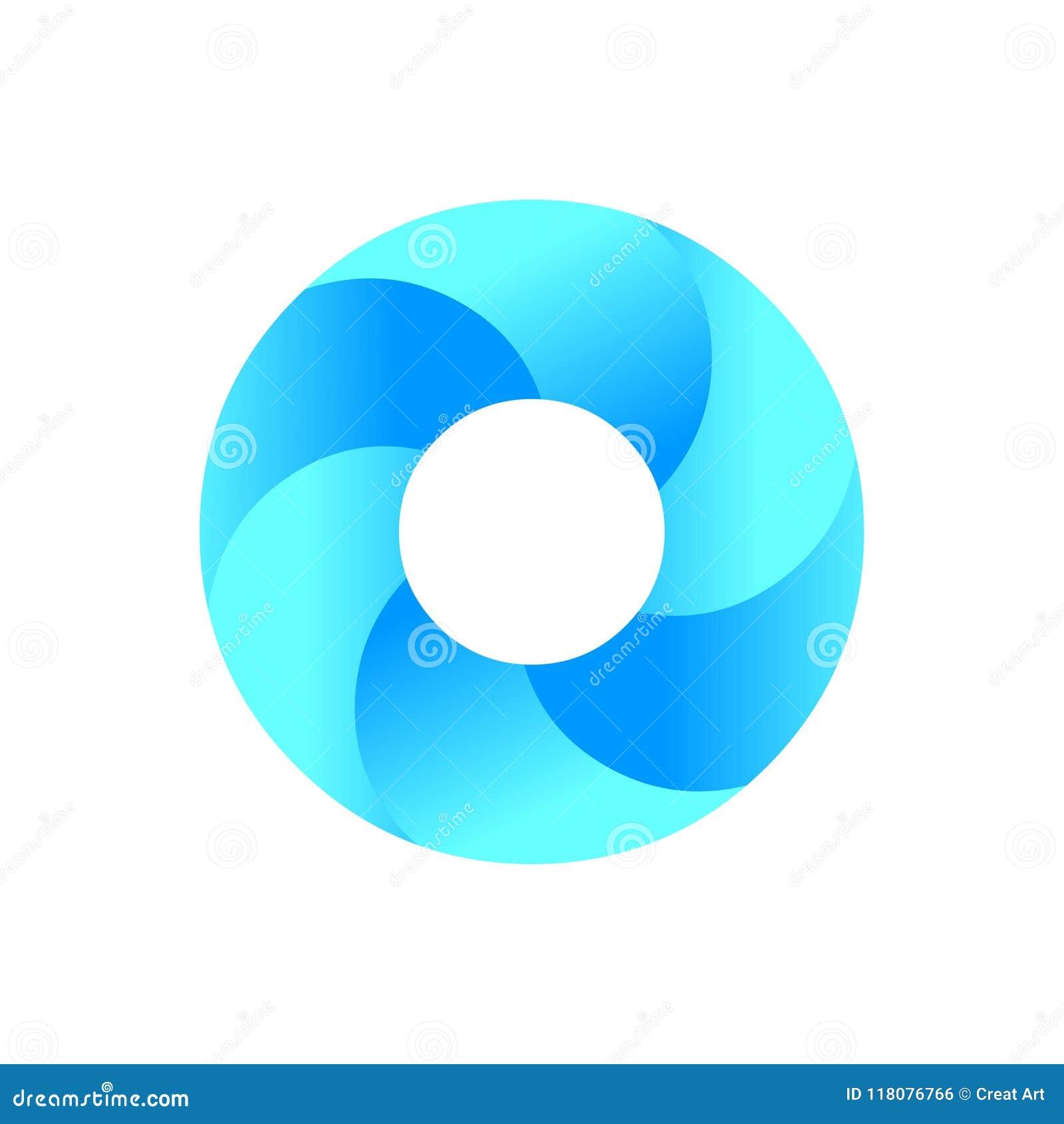 Логотип круга Голубой вектор значка логотипа круга абстрактная икона