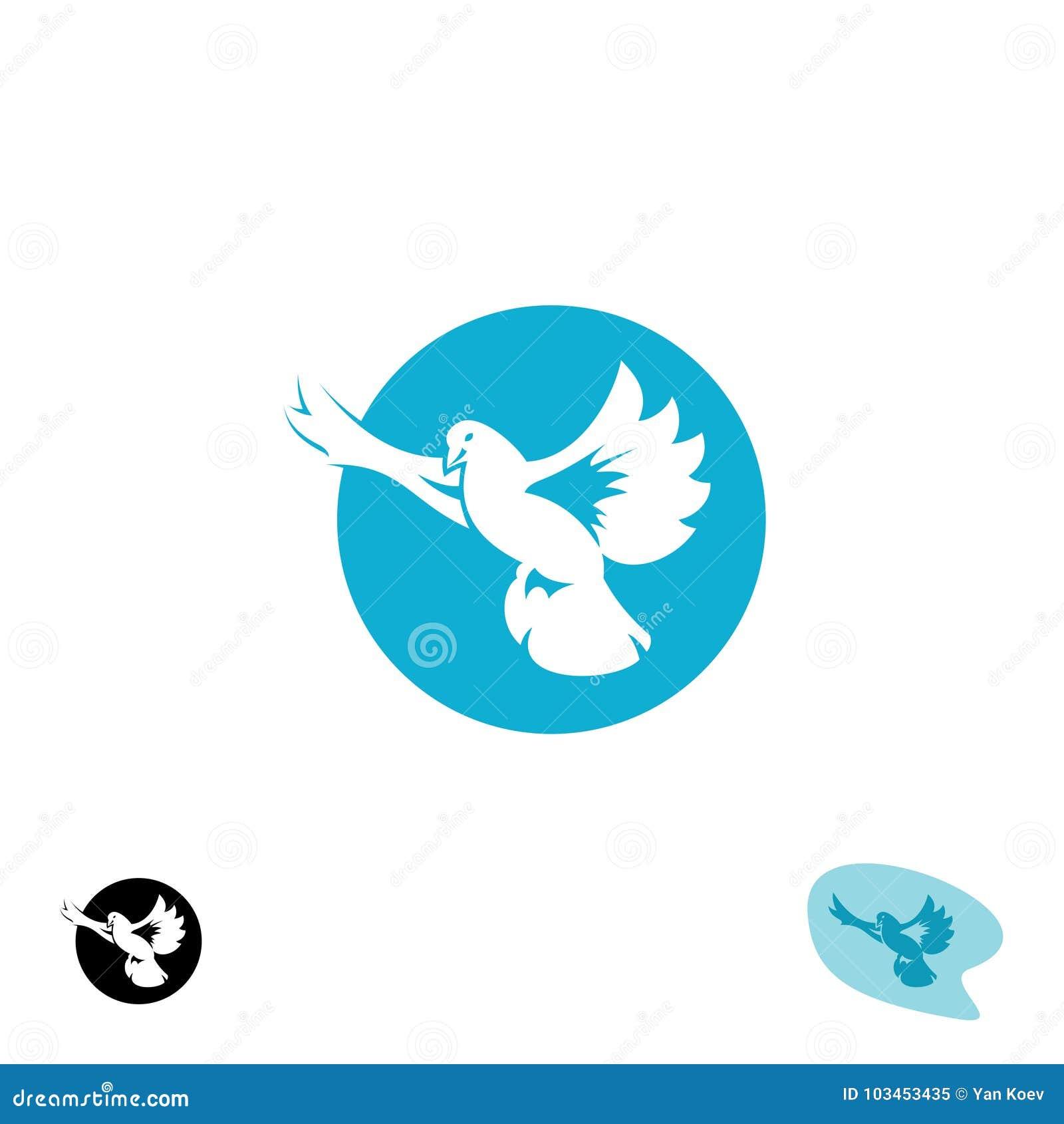 Логотип летящей птицы голубя