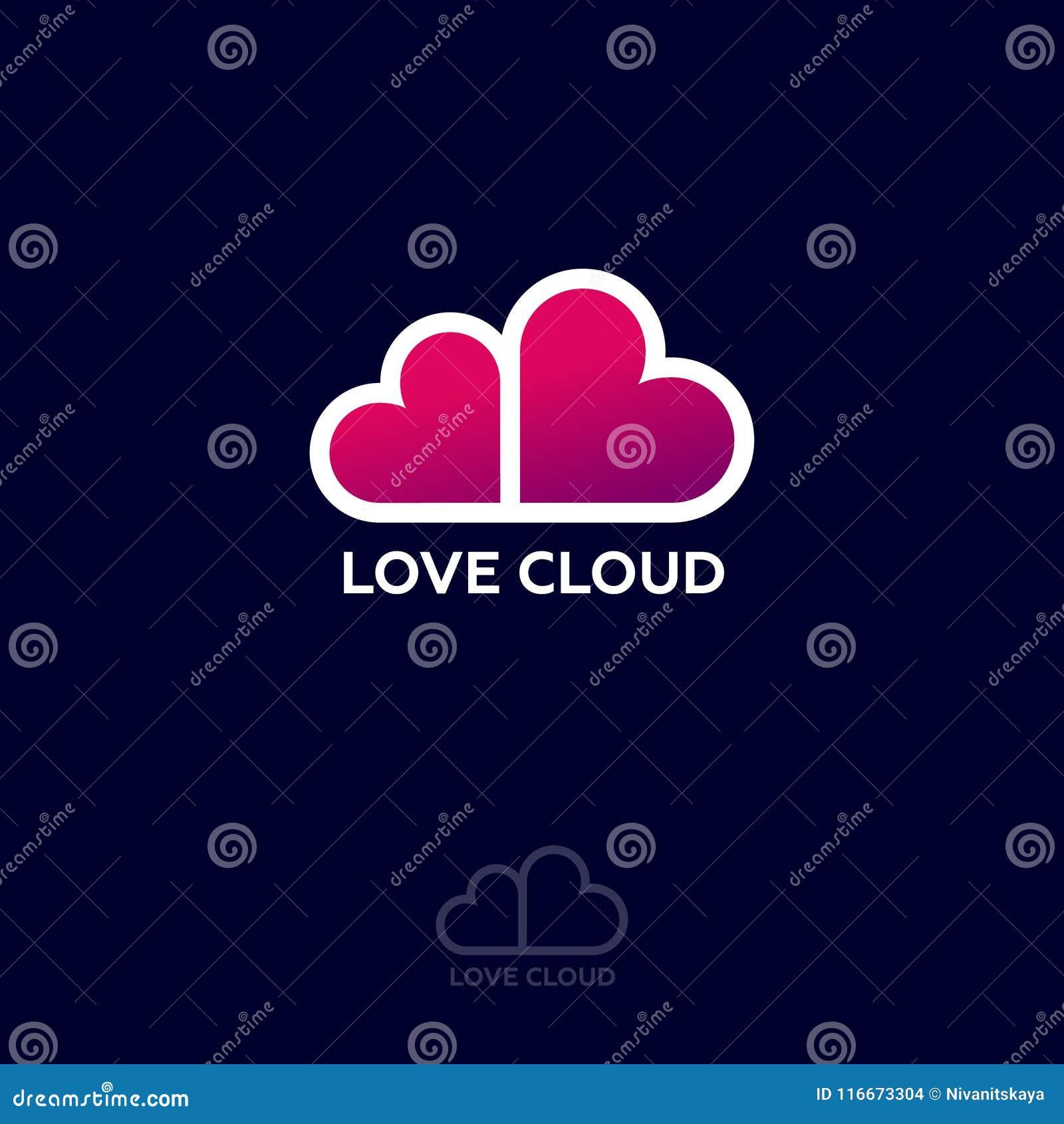 Логотип облака влюбленности Эмблема вебсайта датировка Датировать болтовню Розовые сердца любят облако