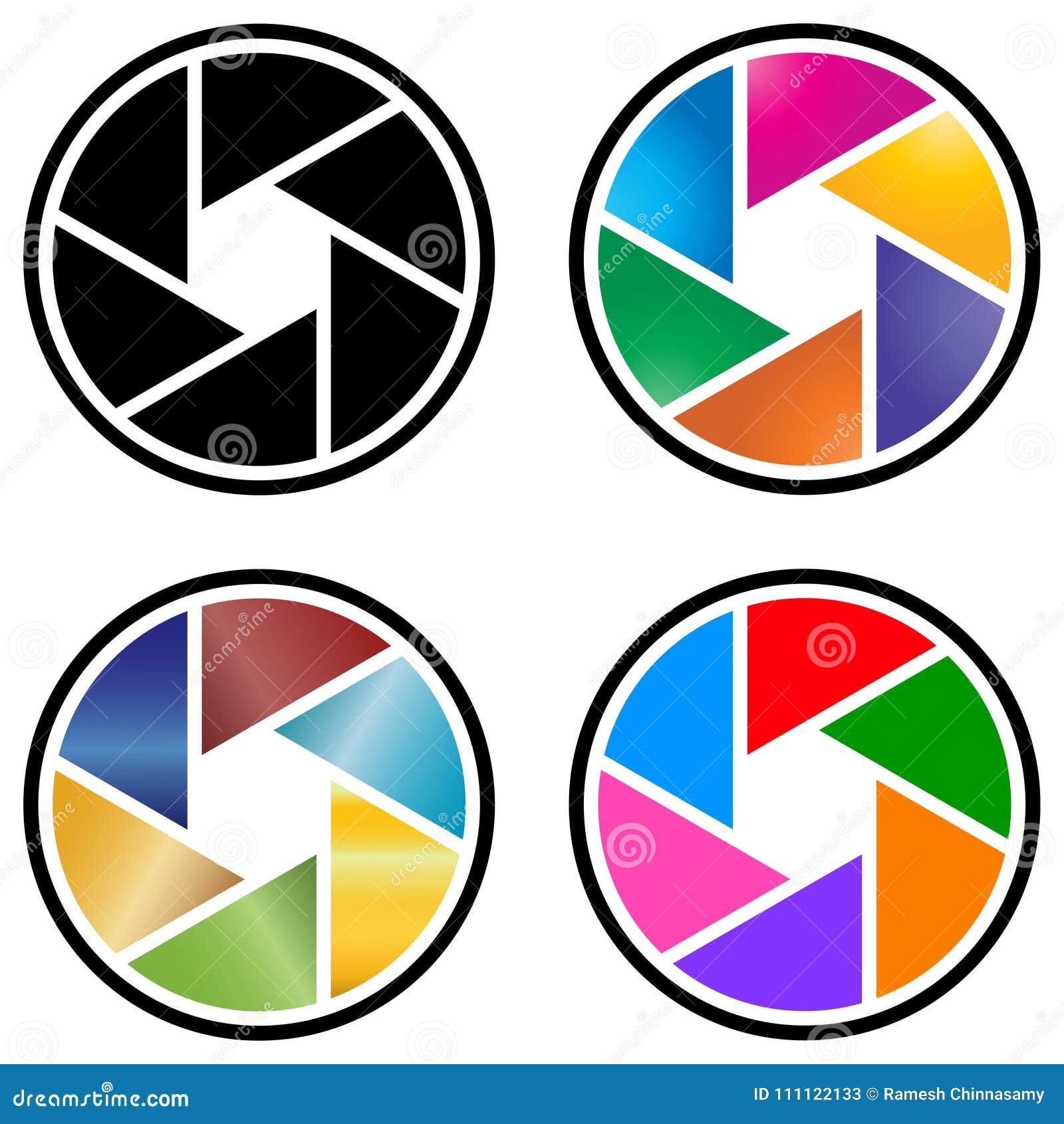 Логотип объектива фотоаппарата фотографии с красочным дизайном