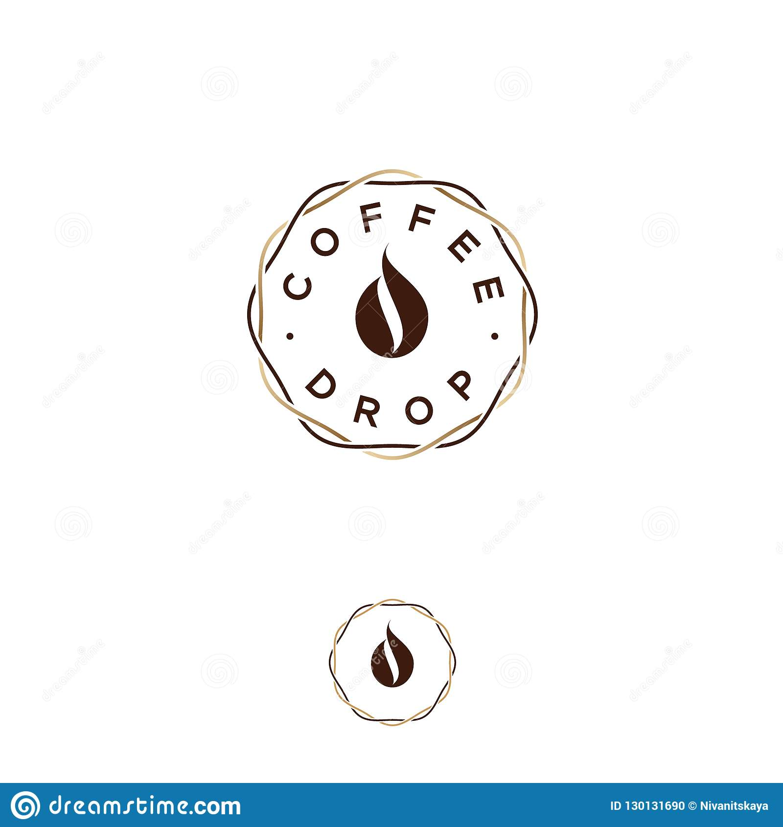 Логотип падения кофе Эмблема кофе Падение кофе, как кофейное зерно, в переплетаннсяых линиях венка