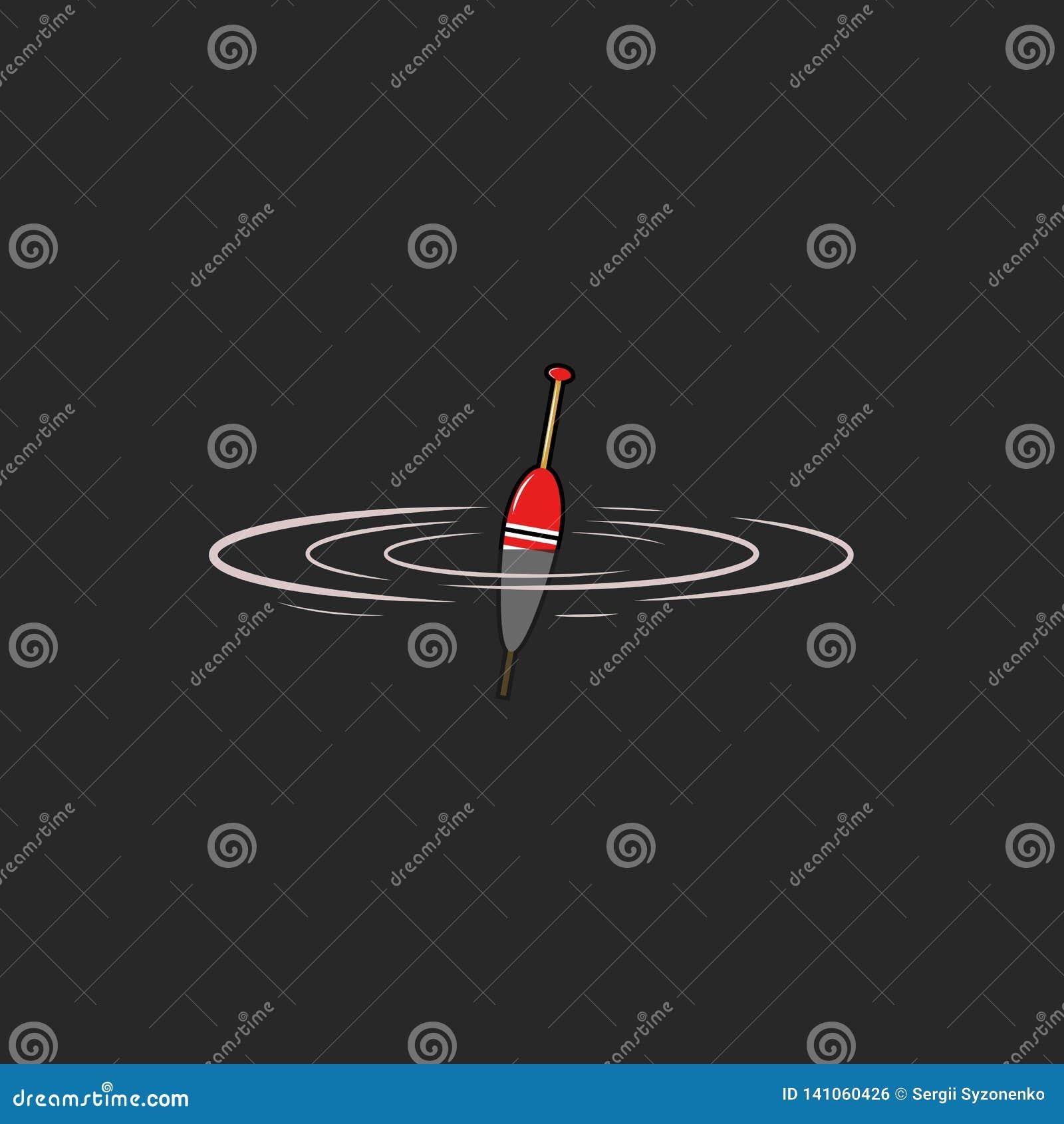 Логотип поплавка удя модель-макет эмблемы, пульсации рыб клева на воде, значке bobber, двигая под углом предпосылке хобби темной