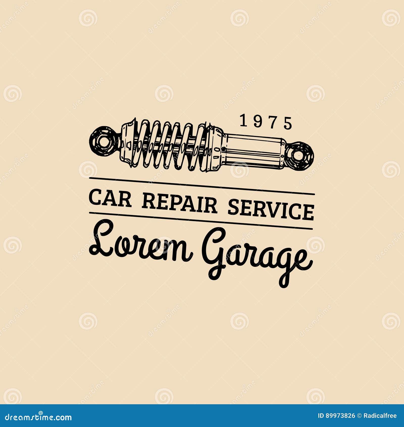 Логотип ремонта автомобиля с иллюстрацией амортизатора удара Vector винтажной гараж нарисованный рукой, автоматический плакат etc