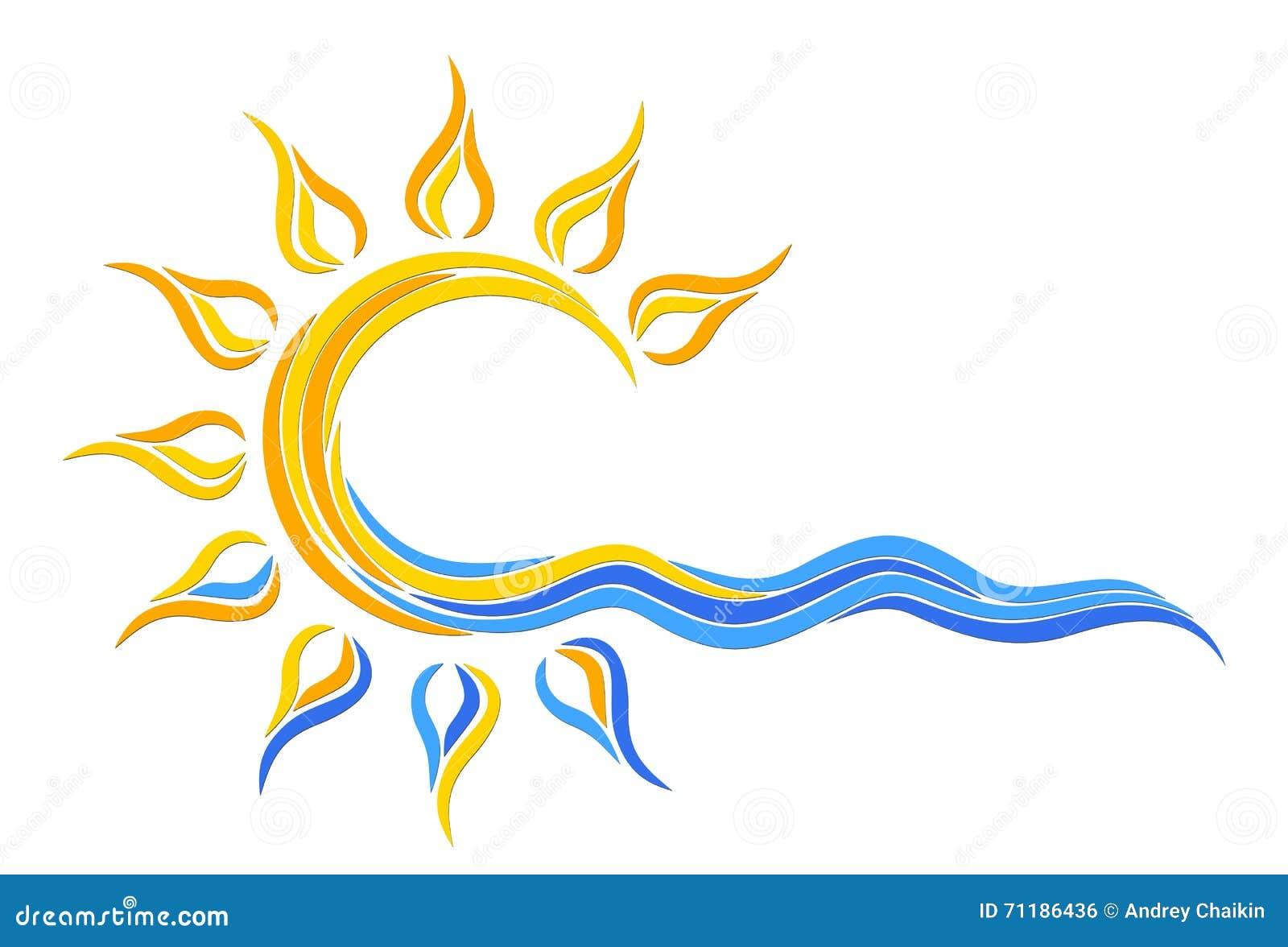 Логотип Солнця в море