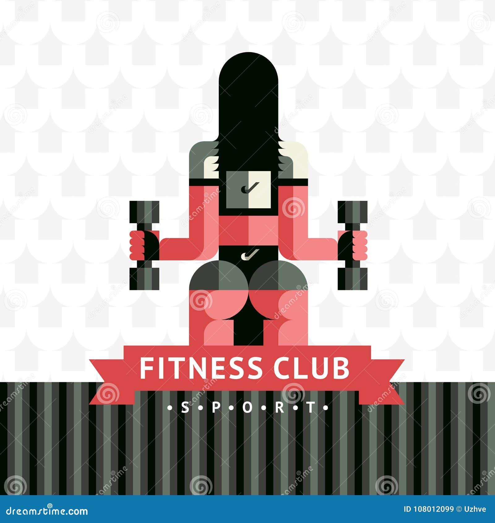 Логотип стикера фитнеса в стиле sovermennom вектора плоско геометрическом с лентой