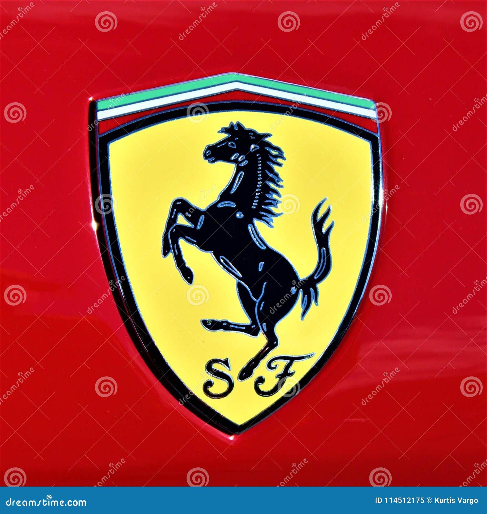 Логотип Феррари от выставки автомобиля автомобилей и кофе Toledo