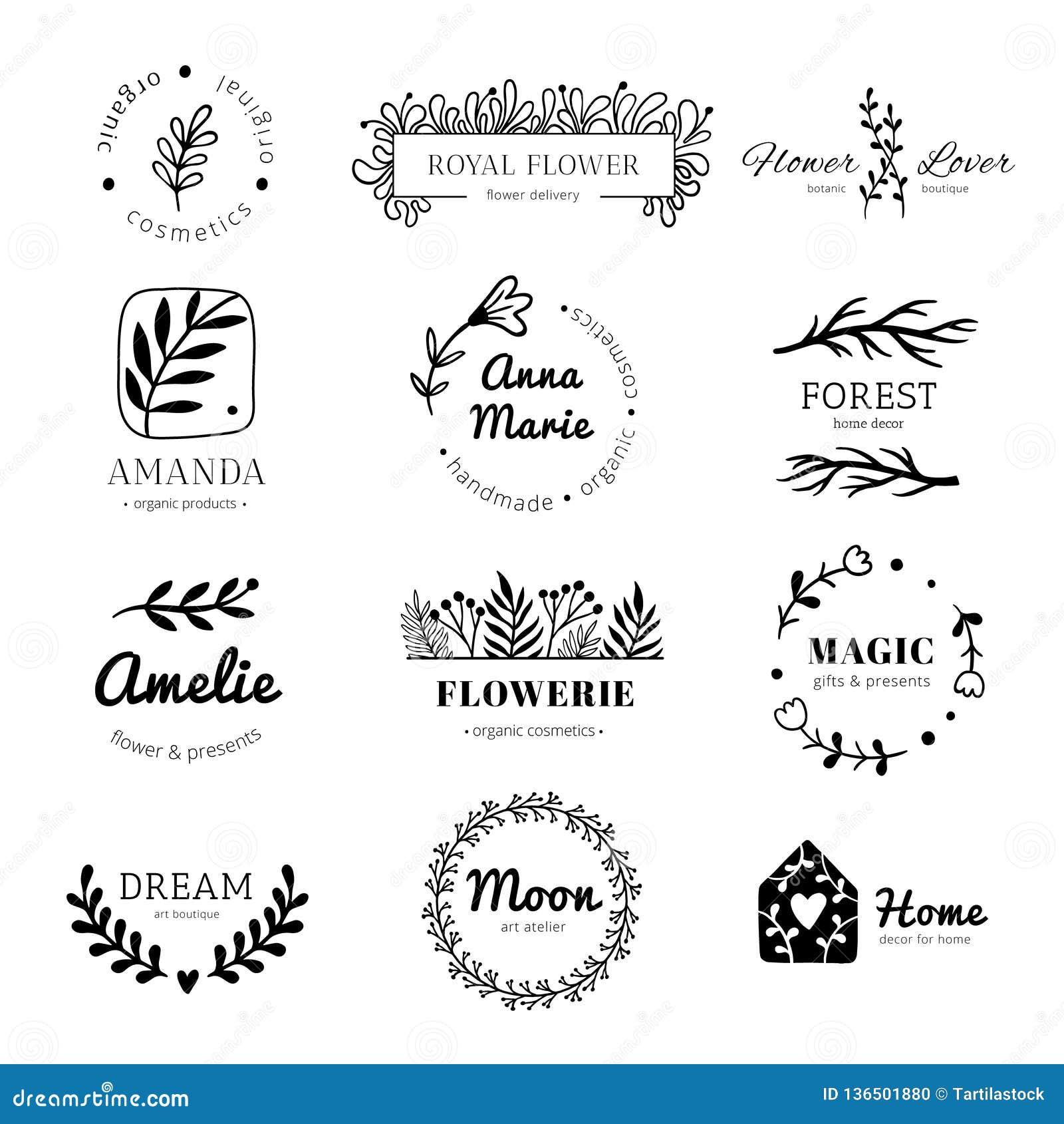 Логотип флористического орнамента Лавр покидает рамка венка, ярлык лист цветка doodle и винтажные значки орнаментов цветков изоли