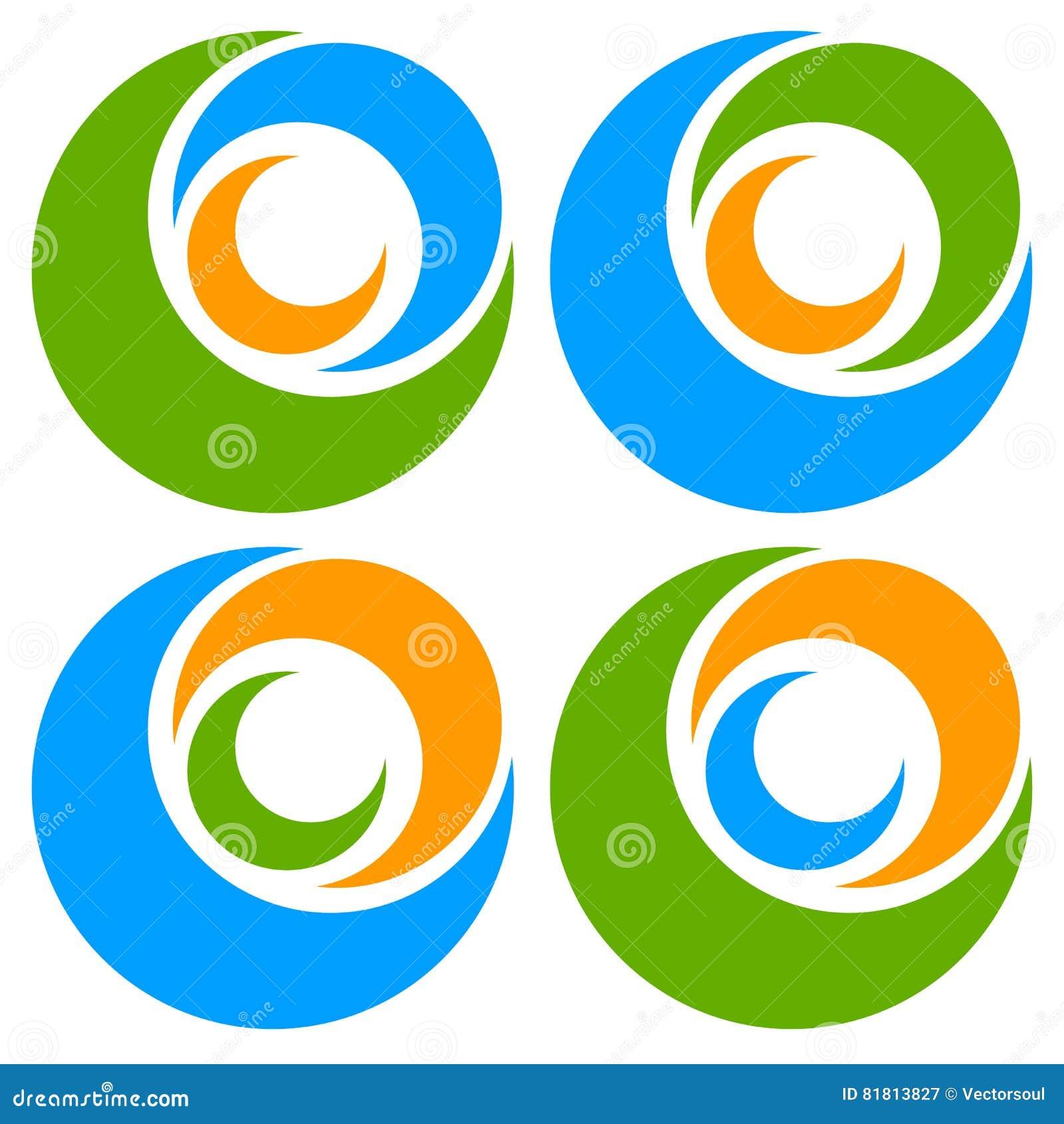 Логотип, форма с 3 кругами - спираль значка, логотип вортекса