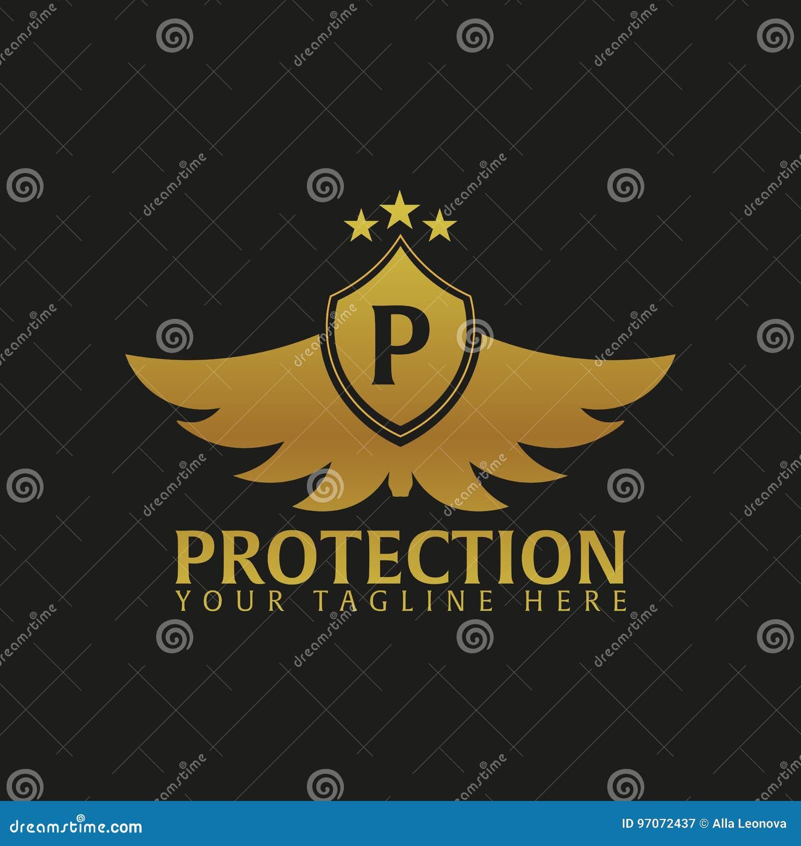 Логотип экрана Компания защиты Безопасность радетель также вектор иллюстрации притяжки corel