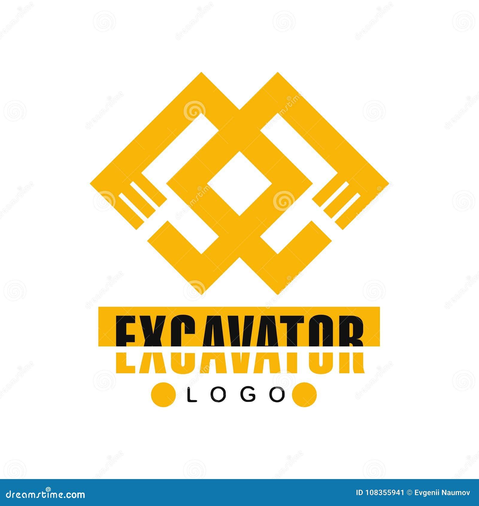 Логотип экскаватора, иллюстрация вектора ярлыка обслуживания backhoe
