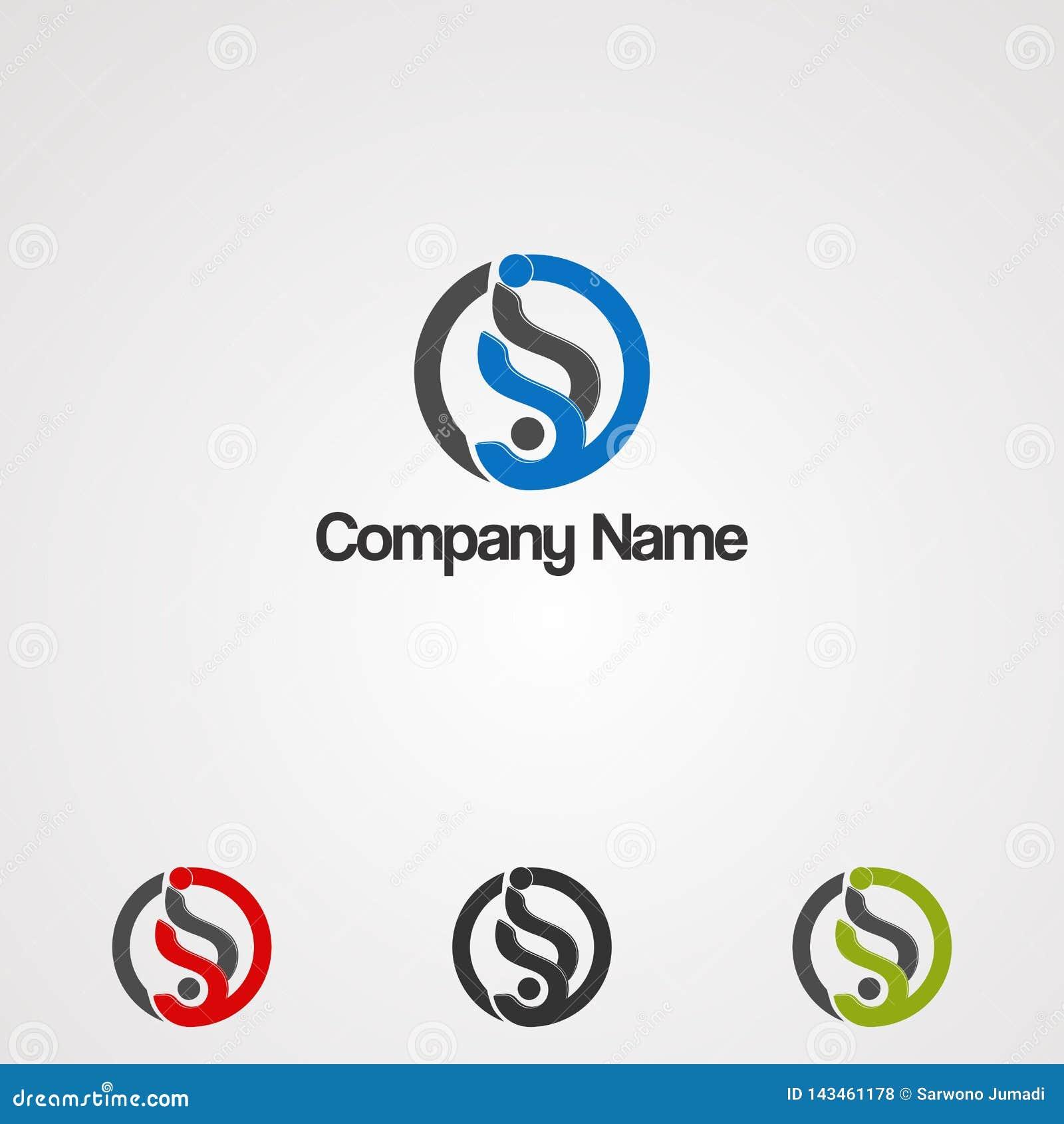 Логотип энергии круга с вектором, значком, элементом, и шаблоном логотипа концепции письма s для компании