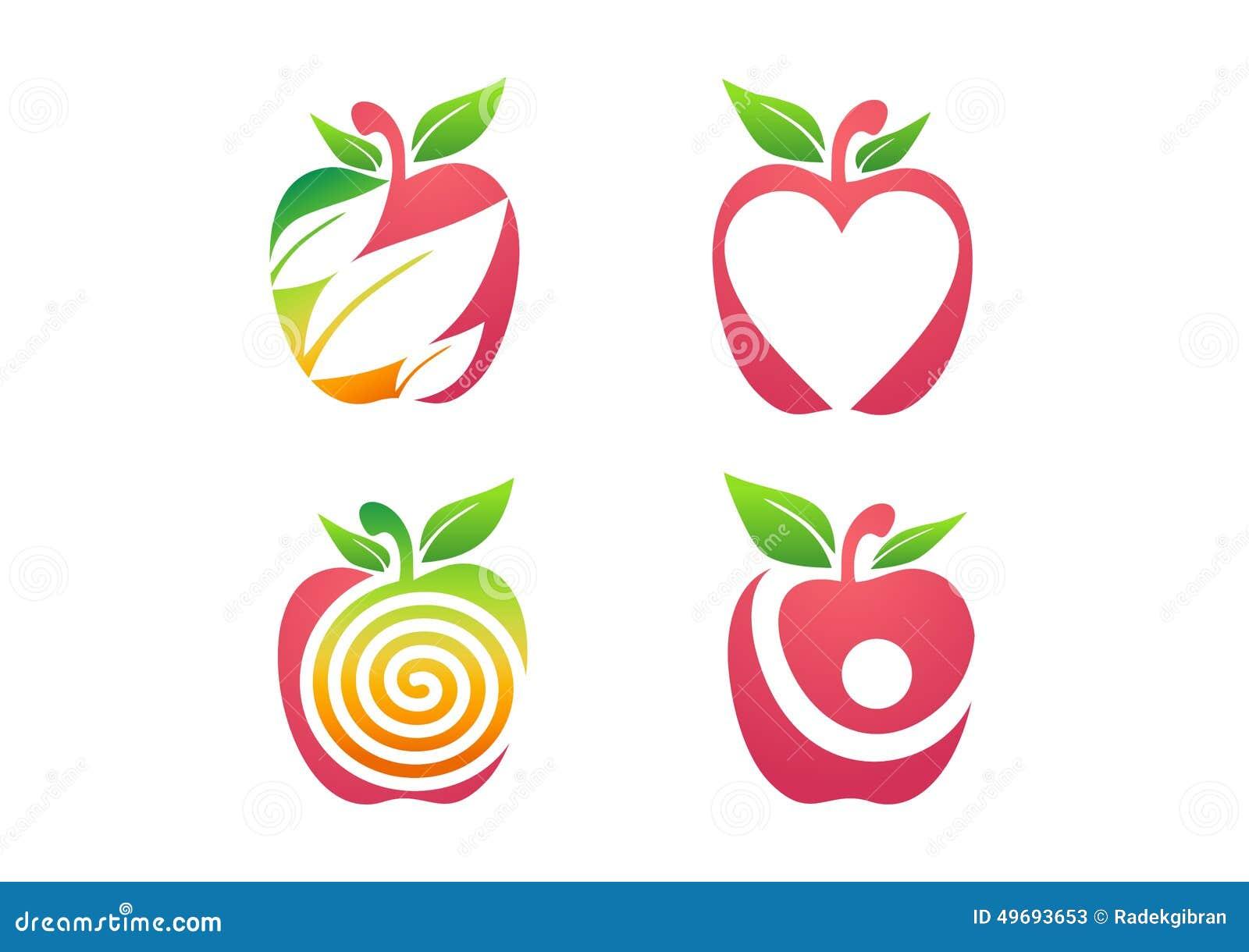 Логотип Яблока, символ значка свежей природы здоровья питания плодоовощ яблока установленный