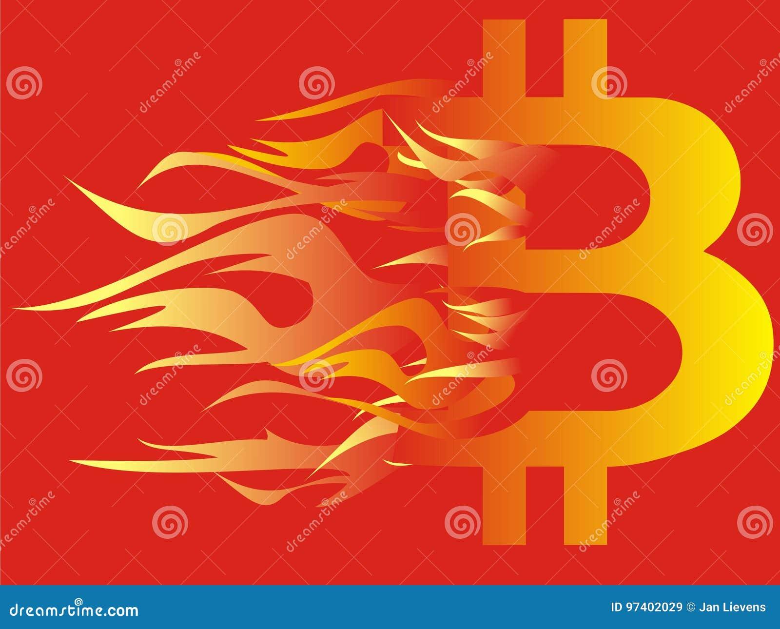 Логотип Bitcoin на огне