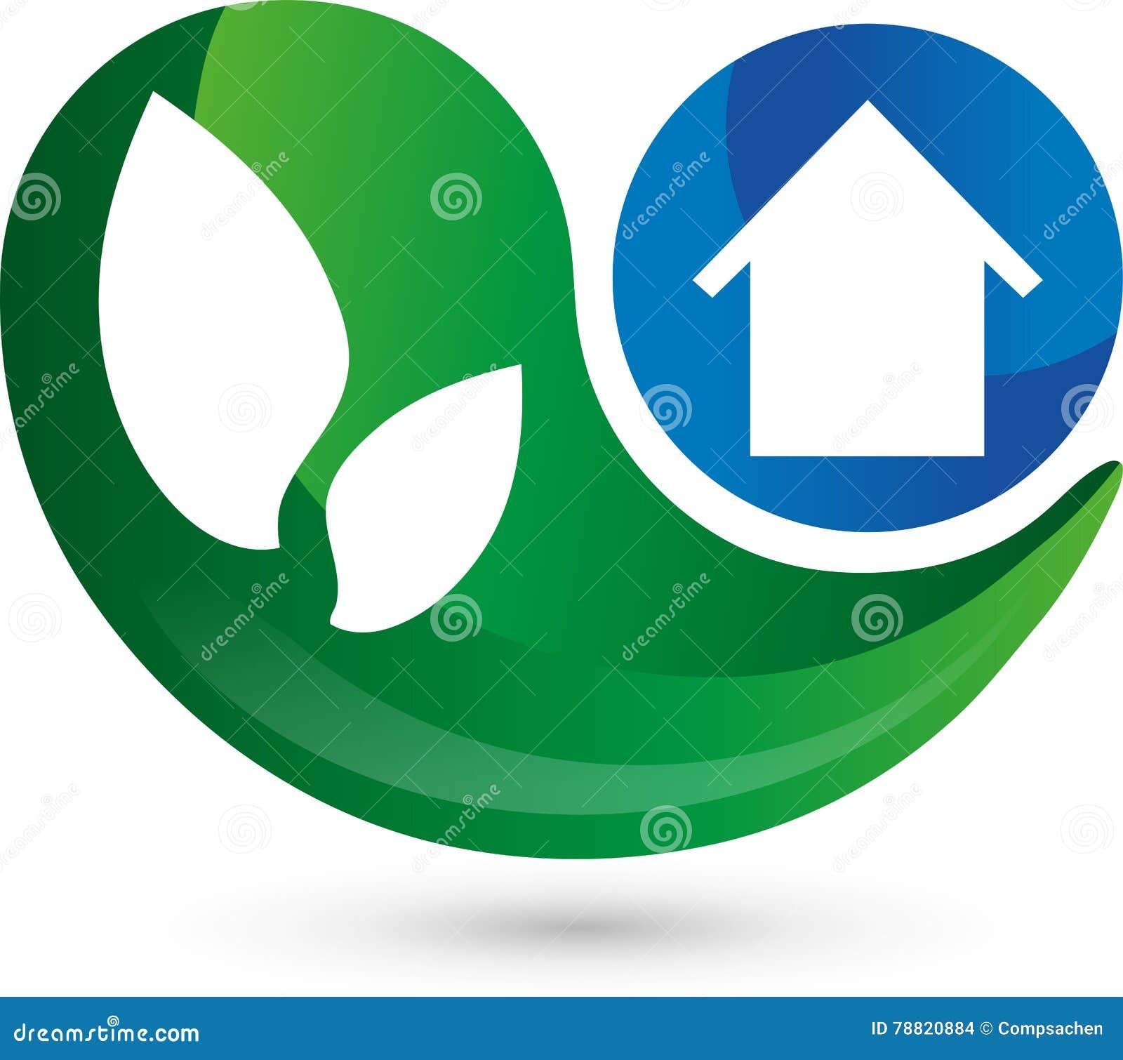 Логотип, 3d, падение, дом в сини, выходит