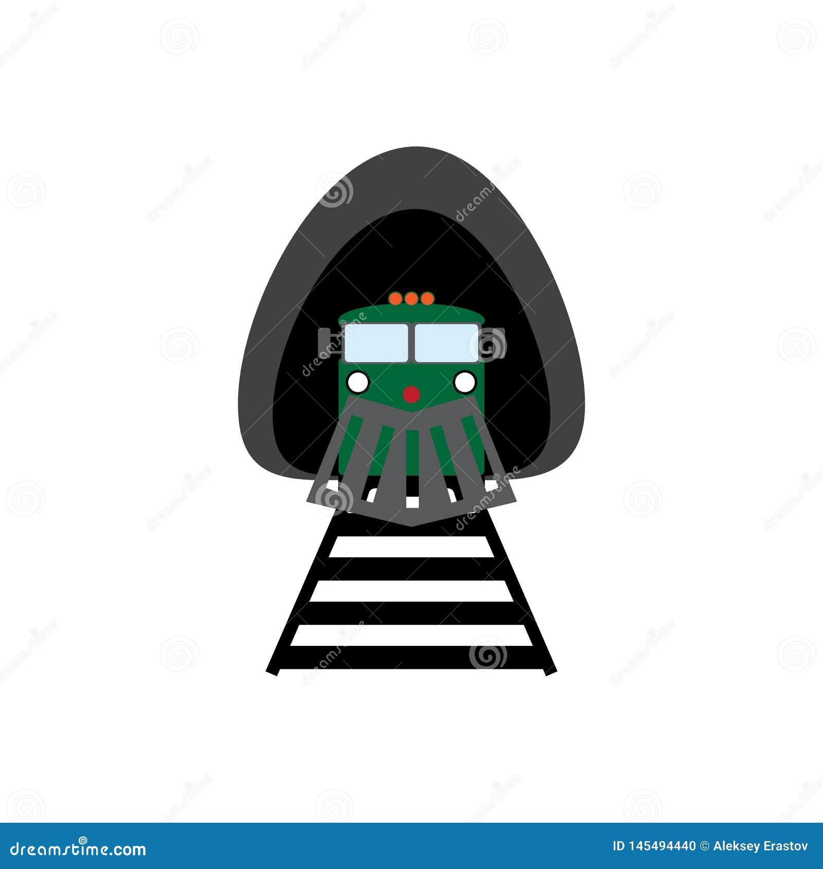 Локомотив покидая тоннель Значок поезда Фронт взгляда r