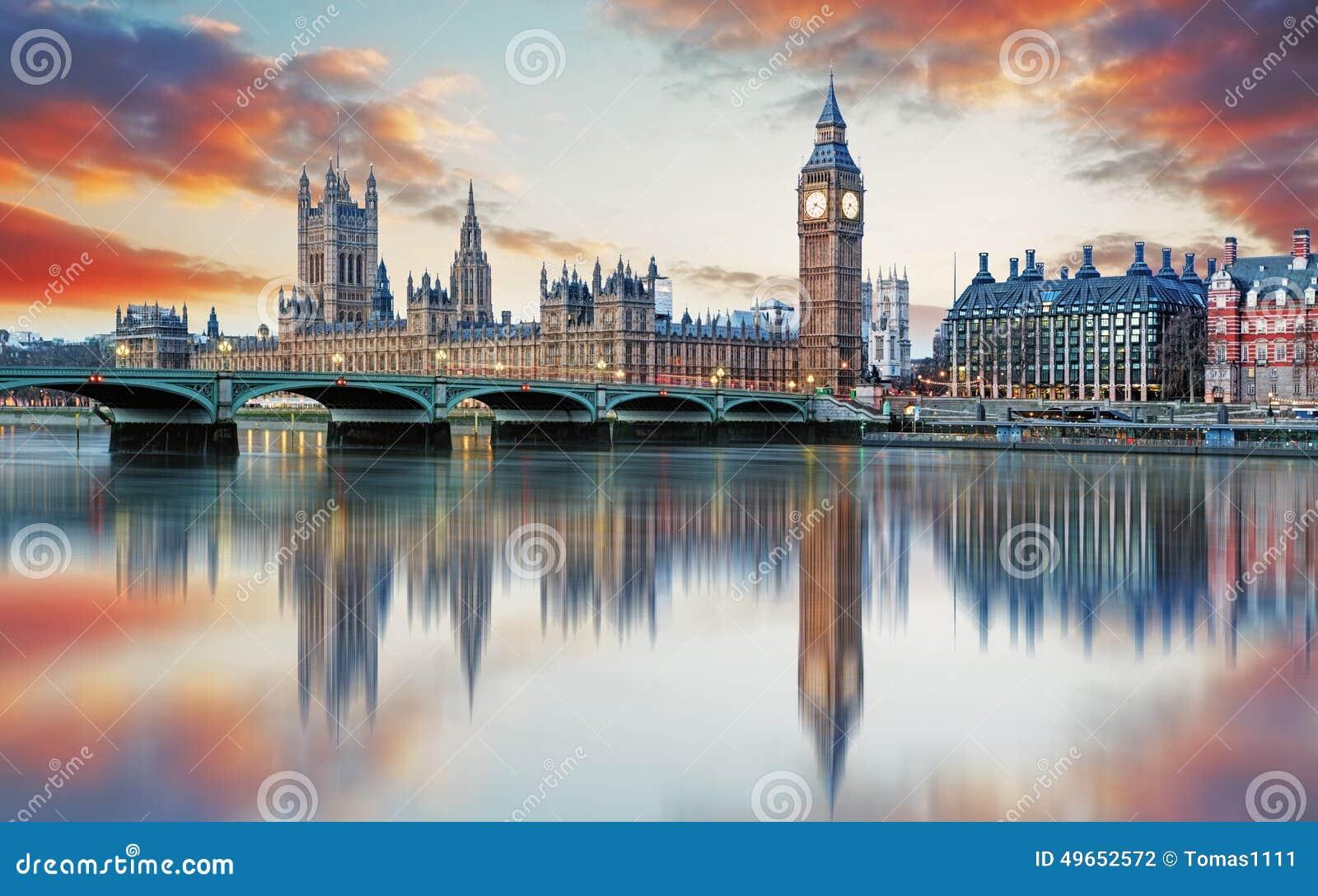 Лондон - большой ben и парламент Великобритании, Великобритания