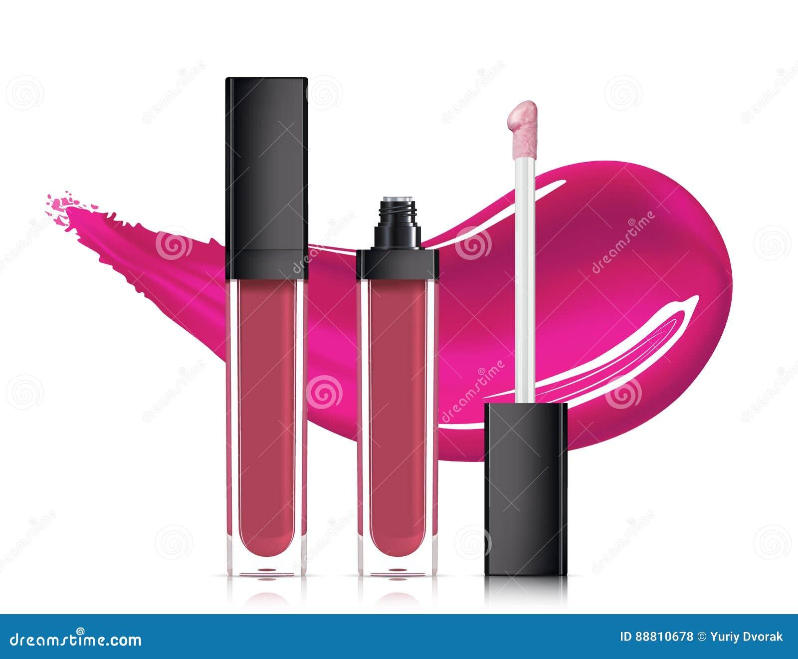 Лоск губы в элегантной стеклянной бутылке с черным контейнером крышки, закрытого и открытого при щетка, изолированная на белой пр
