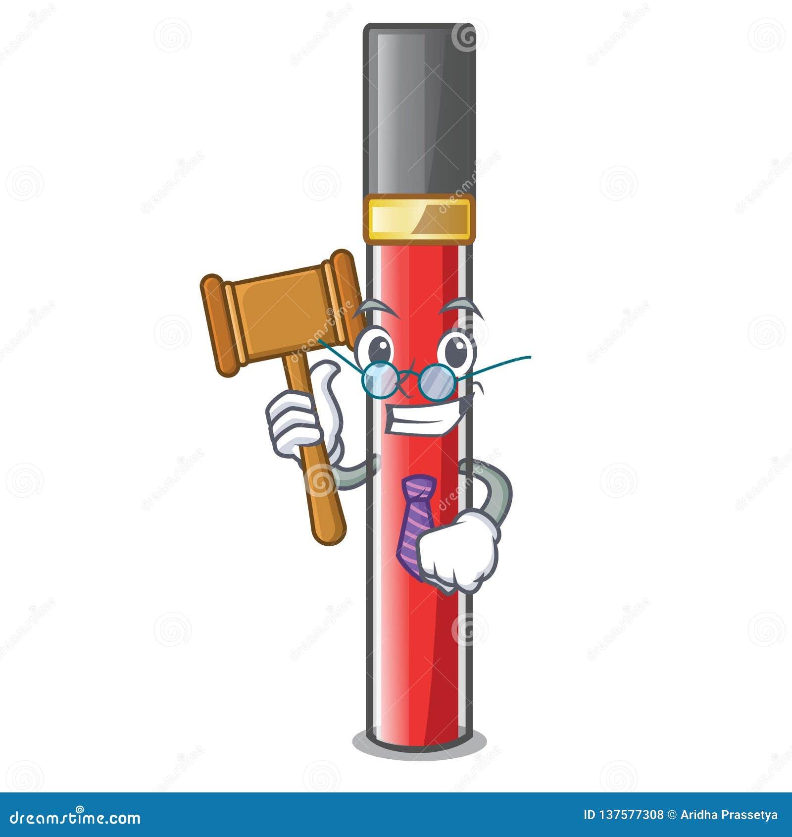 Лоск губы судьи над таблицей макияжа мультфильма