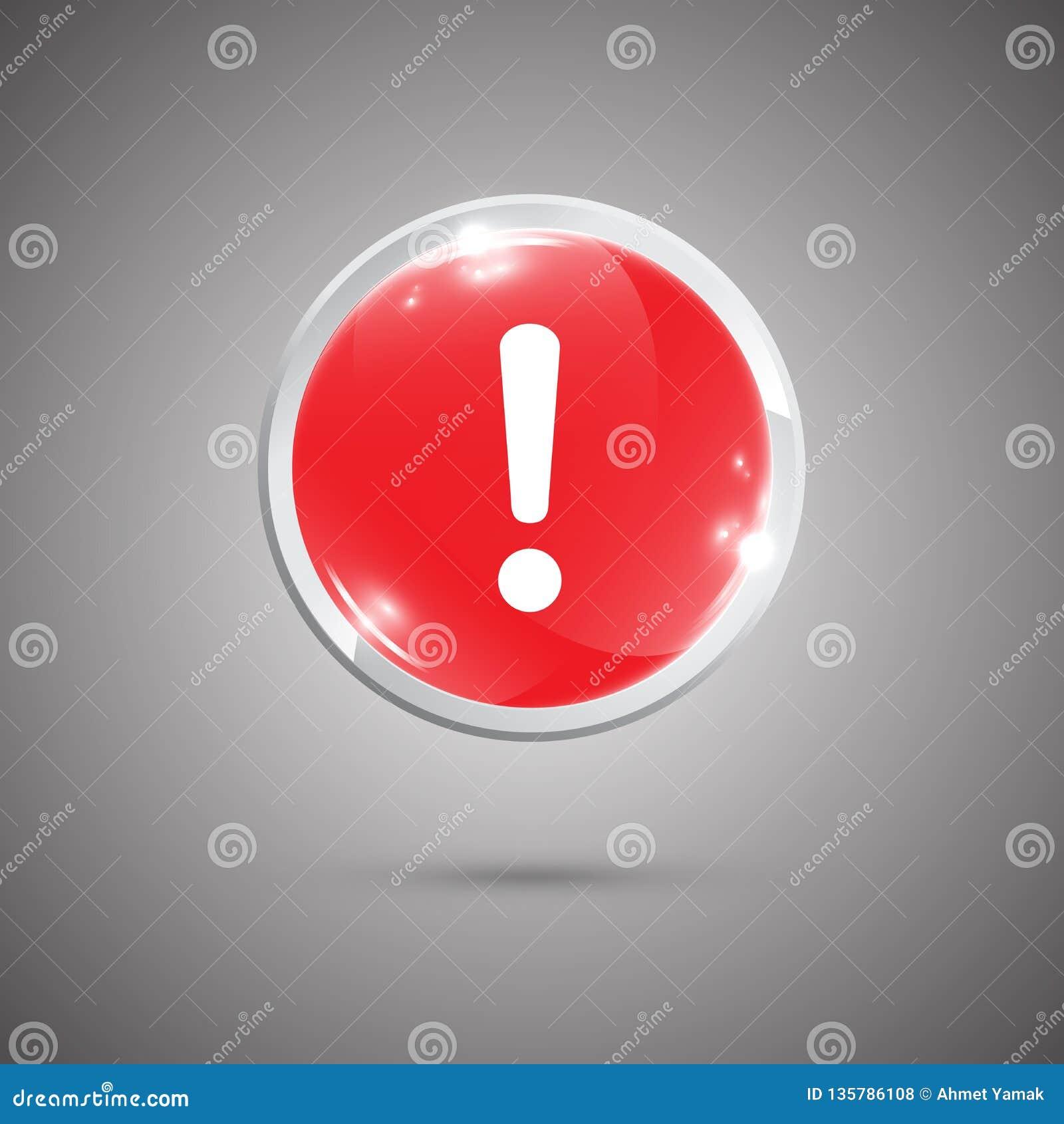 Лоснистая округленная кнопка с восклицательным знаком