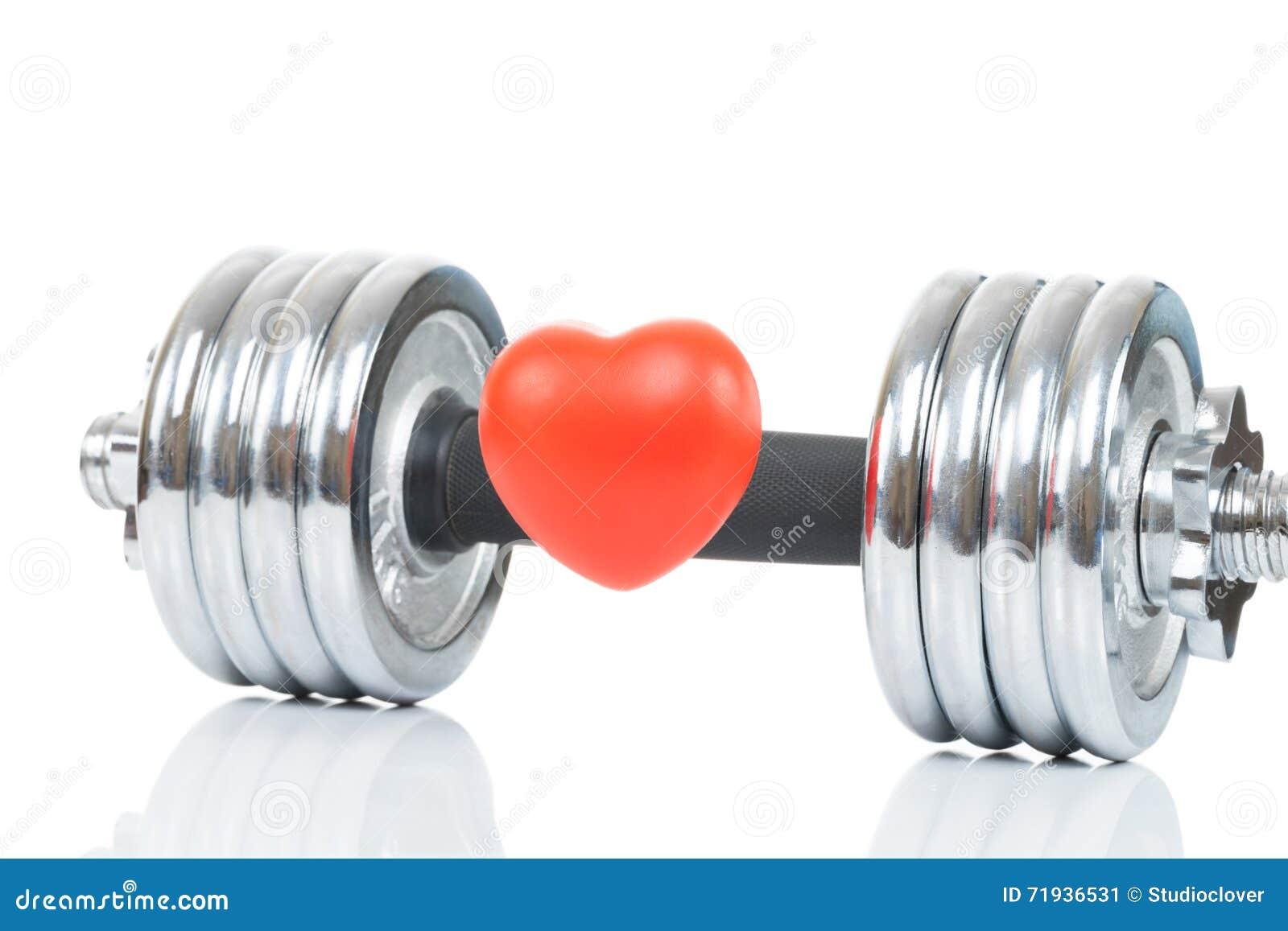Лоснистая покрытая хромом гантель с сердцем игрушки перед им как символ здорового сердца - съемки студии