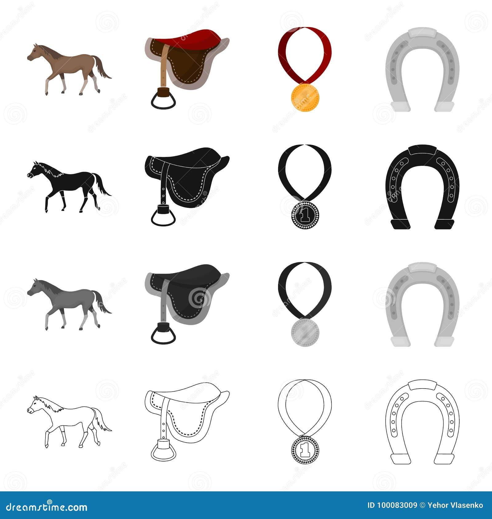 Лошадь, седловина для всадника, вознаграждения в гонках, подковы Hippodrome и значки собрания лошадиных скачек установленные внут