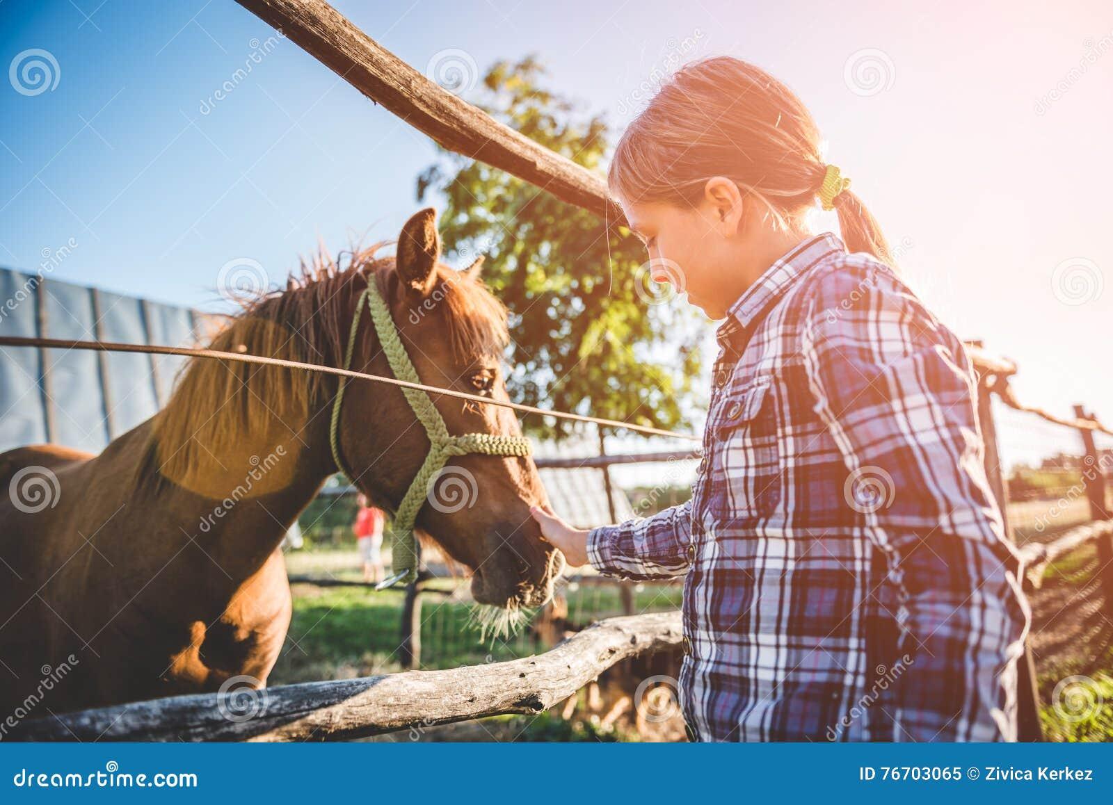 Лошадь объятия маленькой девочки