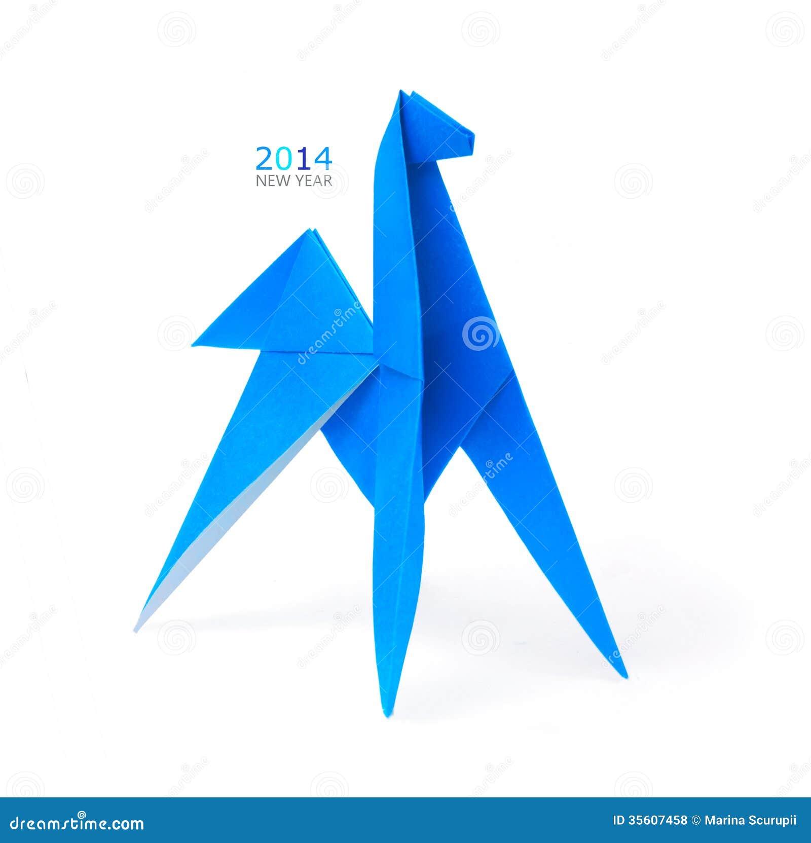 Лошадь сини Origami