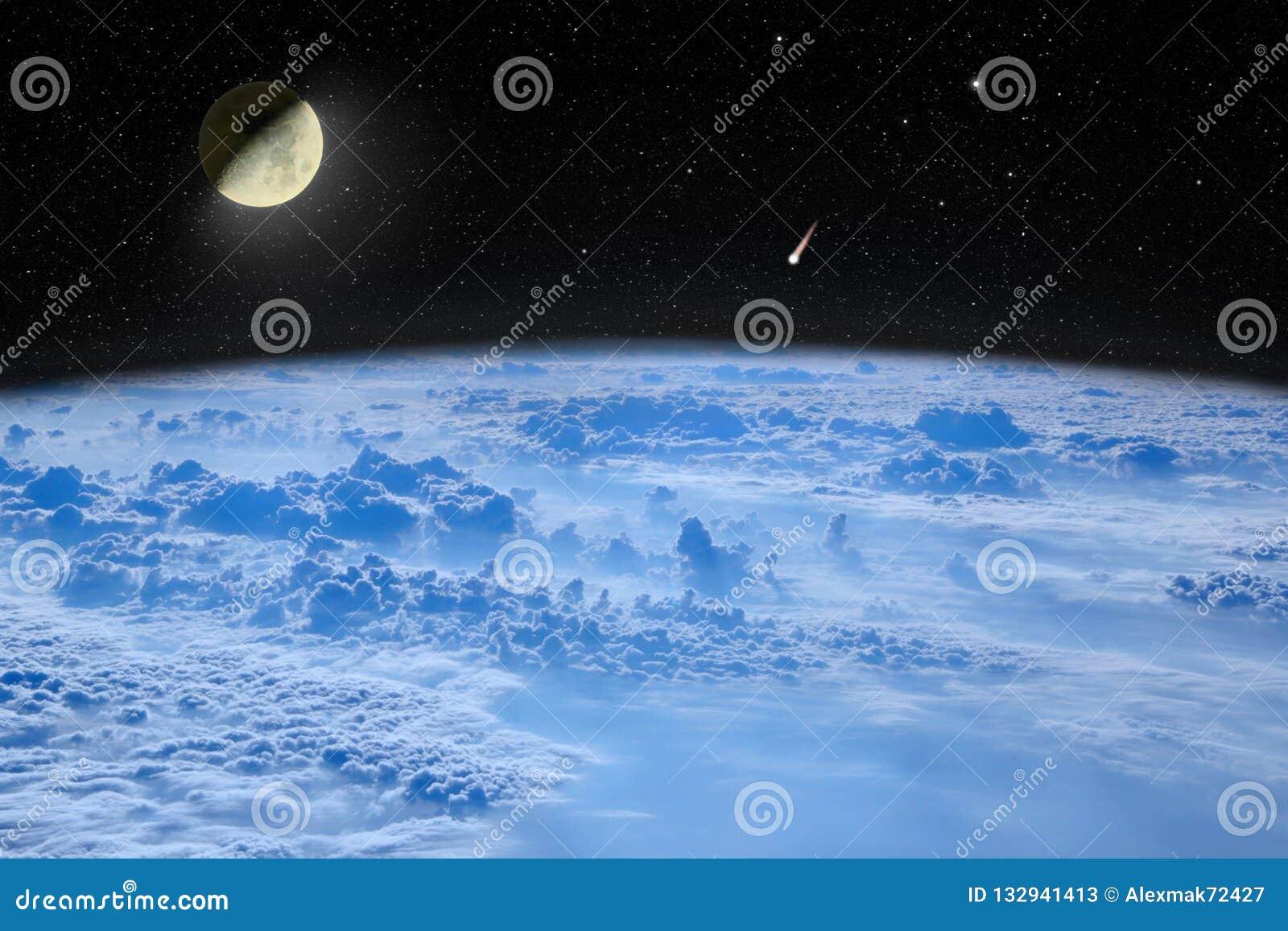 Луна в космосе над землей планеты космос моря рифов ландшафта Звездное небо с луной и кометой