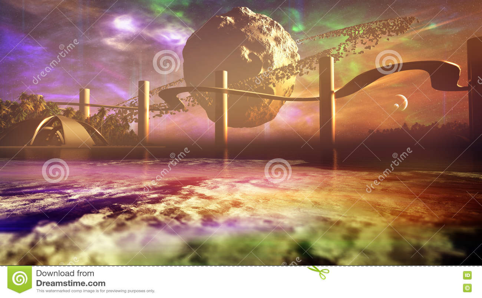 Луна с астероидными кольцами на горизонте планеты чужеземца