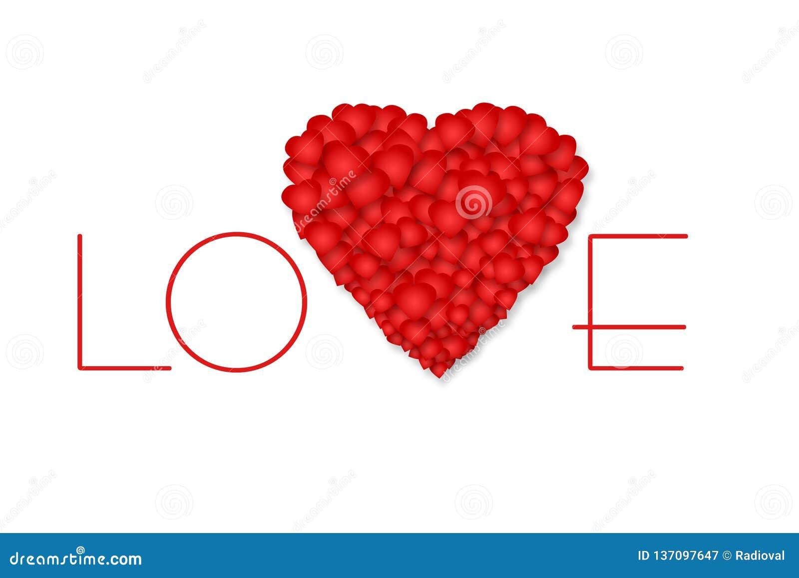 Любовь надписи и красное сердце на белой предпосылке изолировано День матери, предпосылка дня Валентайн