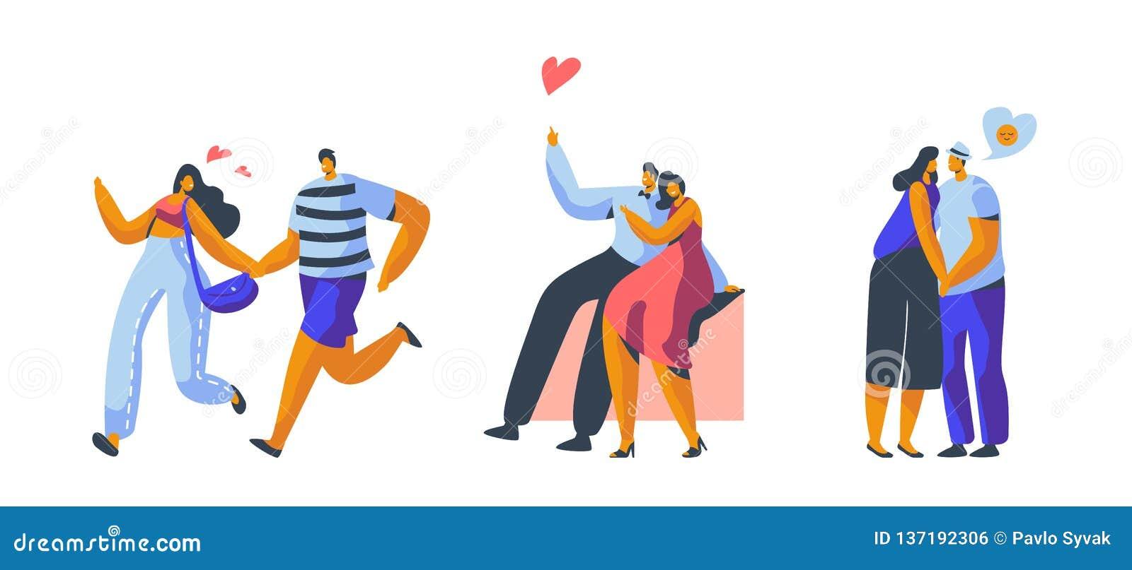 Любовь соединяет характер датируя набор Счастливое объятие любовника, поцелуй, усаживание на изолированной скамейке в парке Flirt