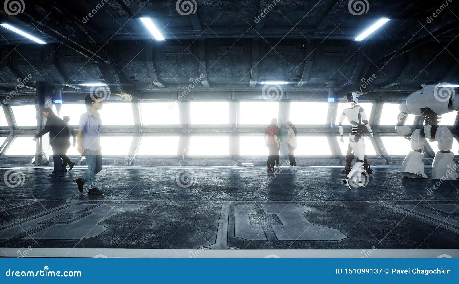 Люди и роботы Tonnel Sci fi Футуристическое движение Концепция будущего r