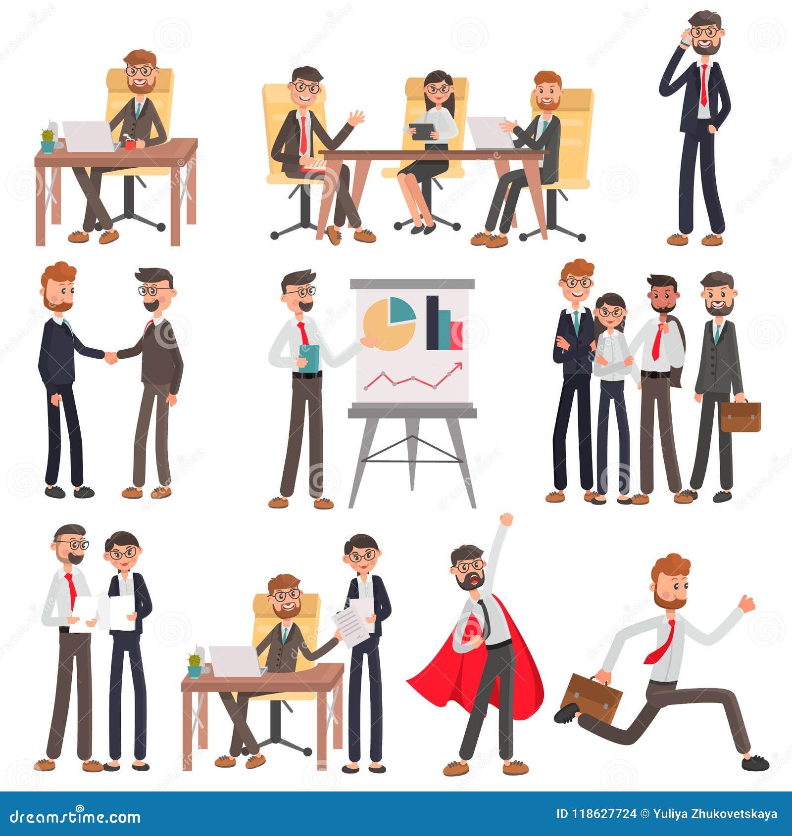 Люди офиса в установленных иллюстрациях различного цвета состояний бизнеса плоских