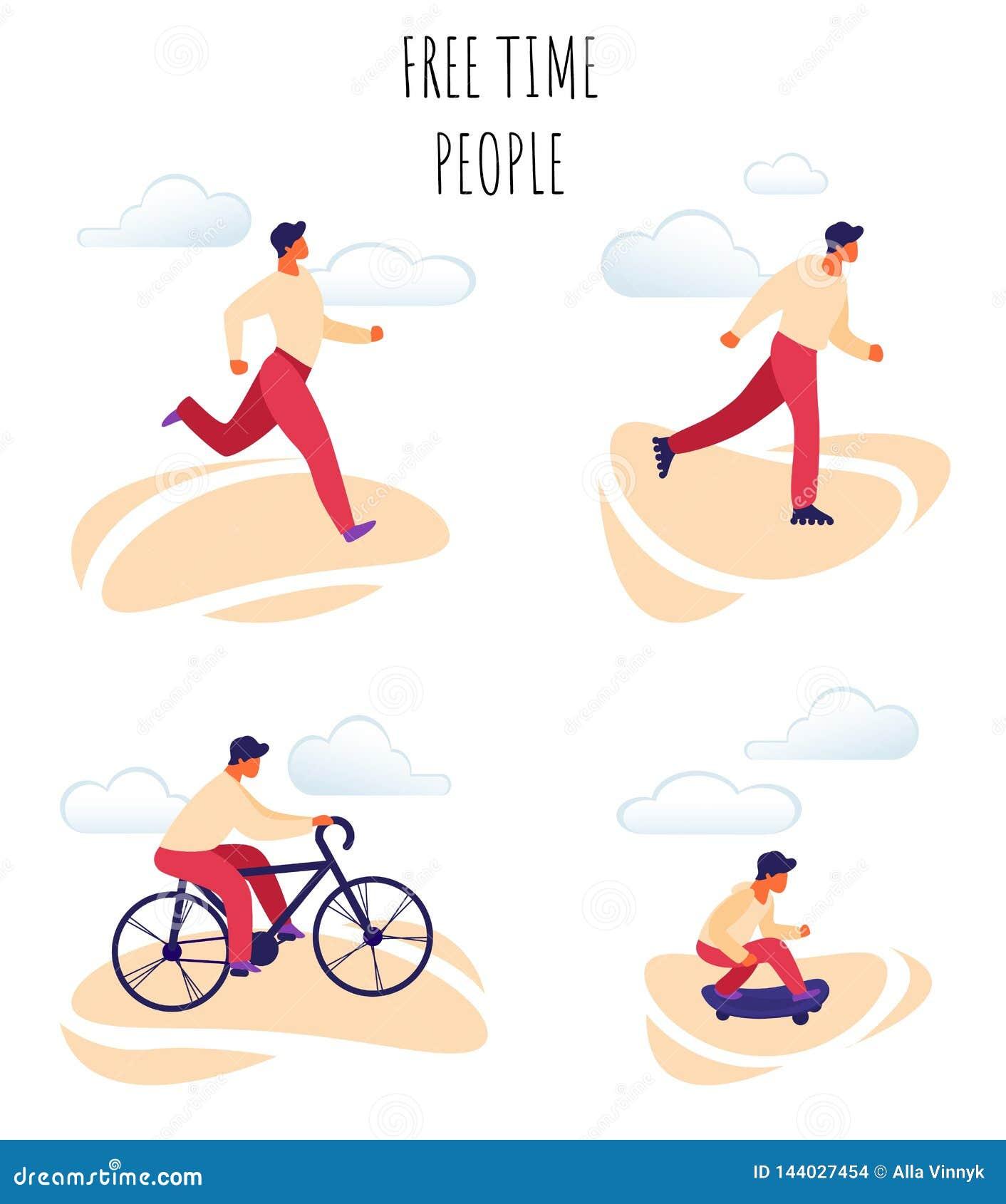 Люди плоского свободного времени иллюстрации вектора счастливые