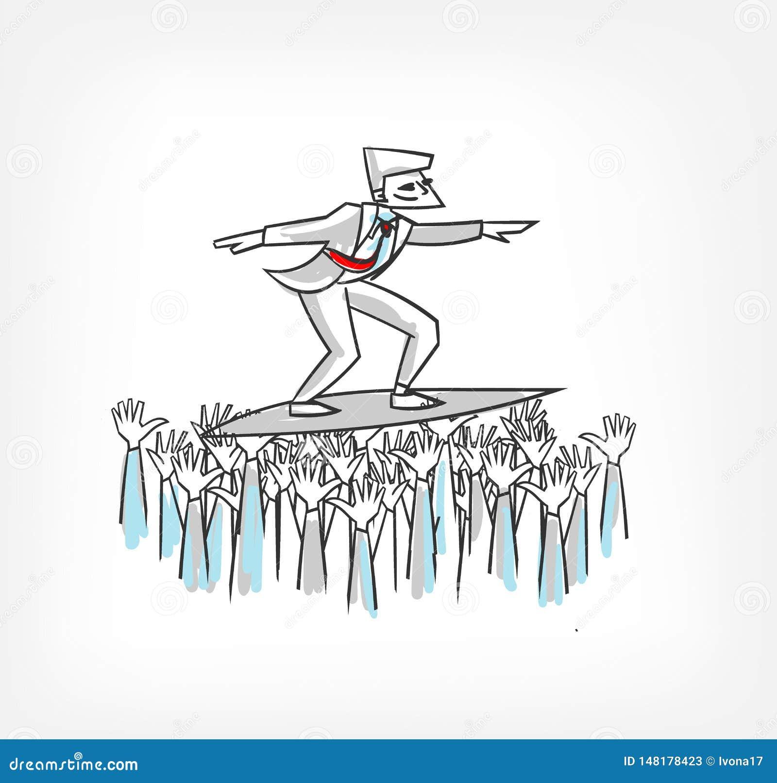 Люди поддерживают иллюстрацию вектора концепции руководителя