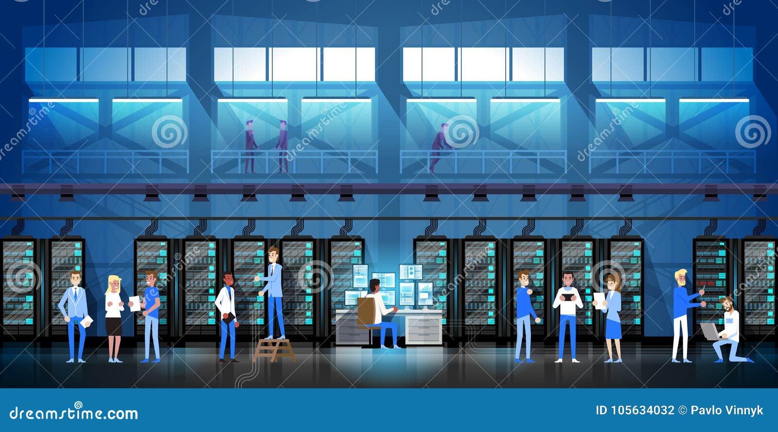 Люди работая в комнате центра данных хозяйничая иллюстрация вектора базы данных данным по контроля компьютер-сервера плоская