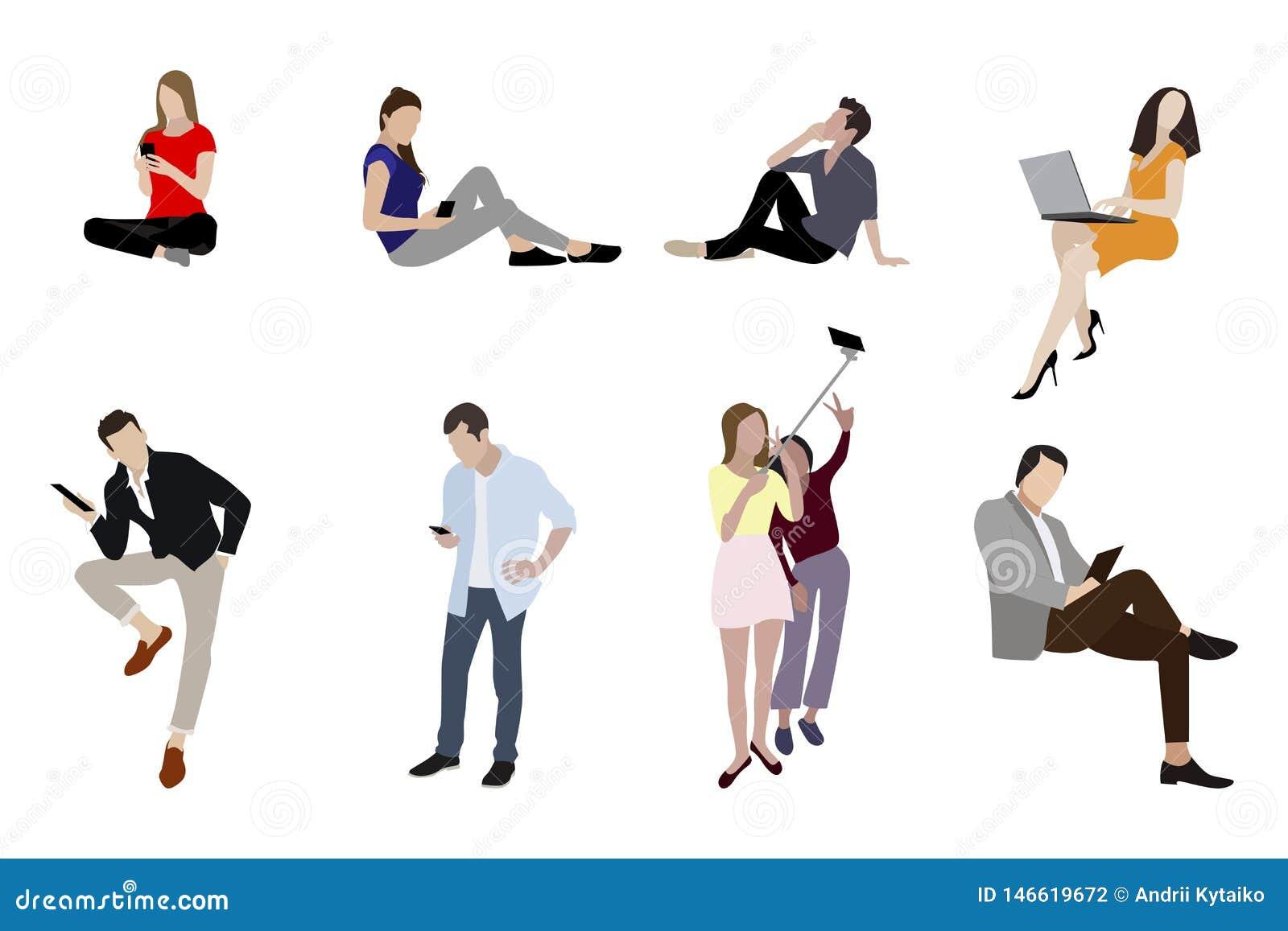 Люди укомплектовывают личным составом и женщина со смартфонами устройств