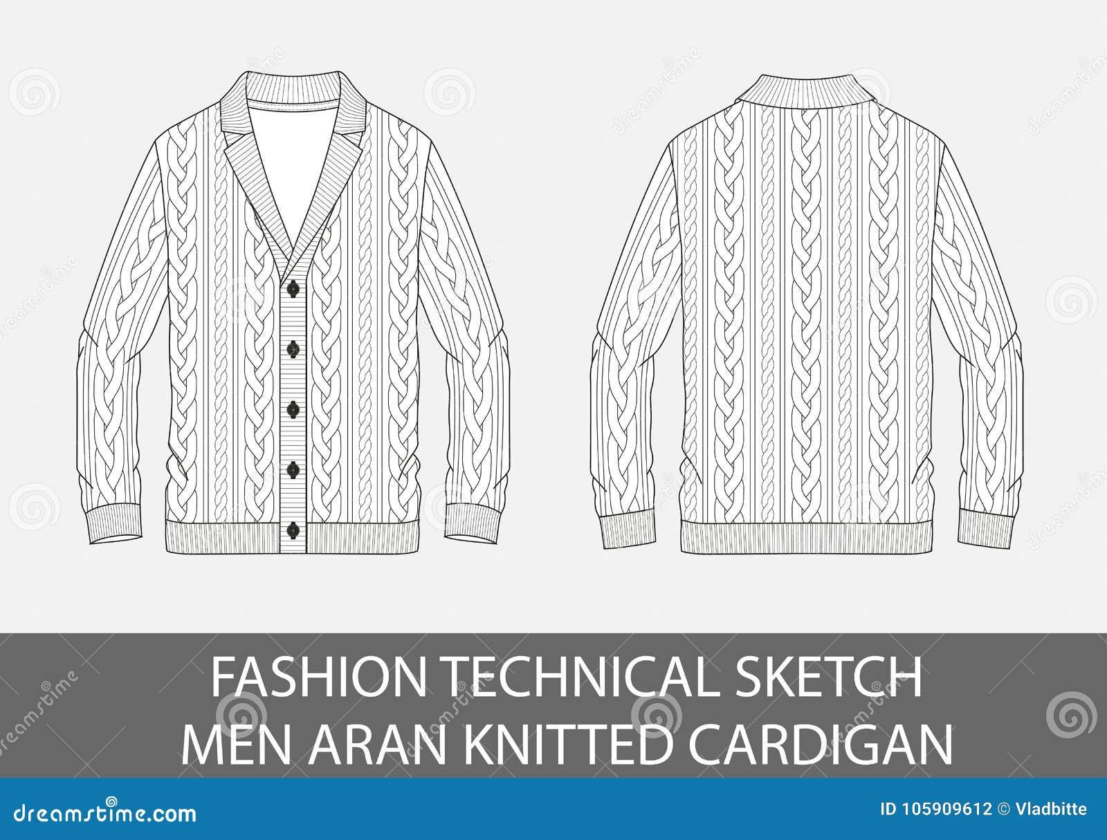 Люди эскиза моды технические вяжут кардиган aran одно--breasted