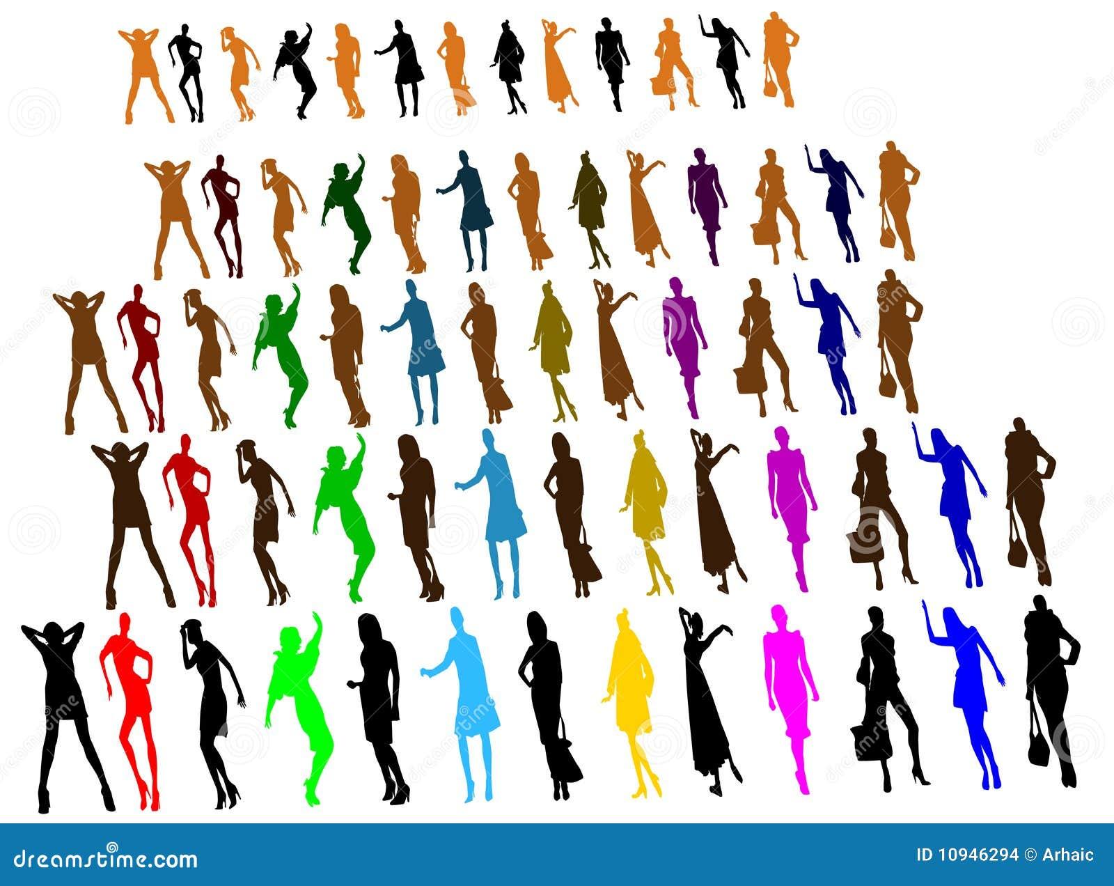 люди silhouettes женщины