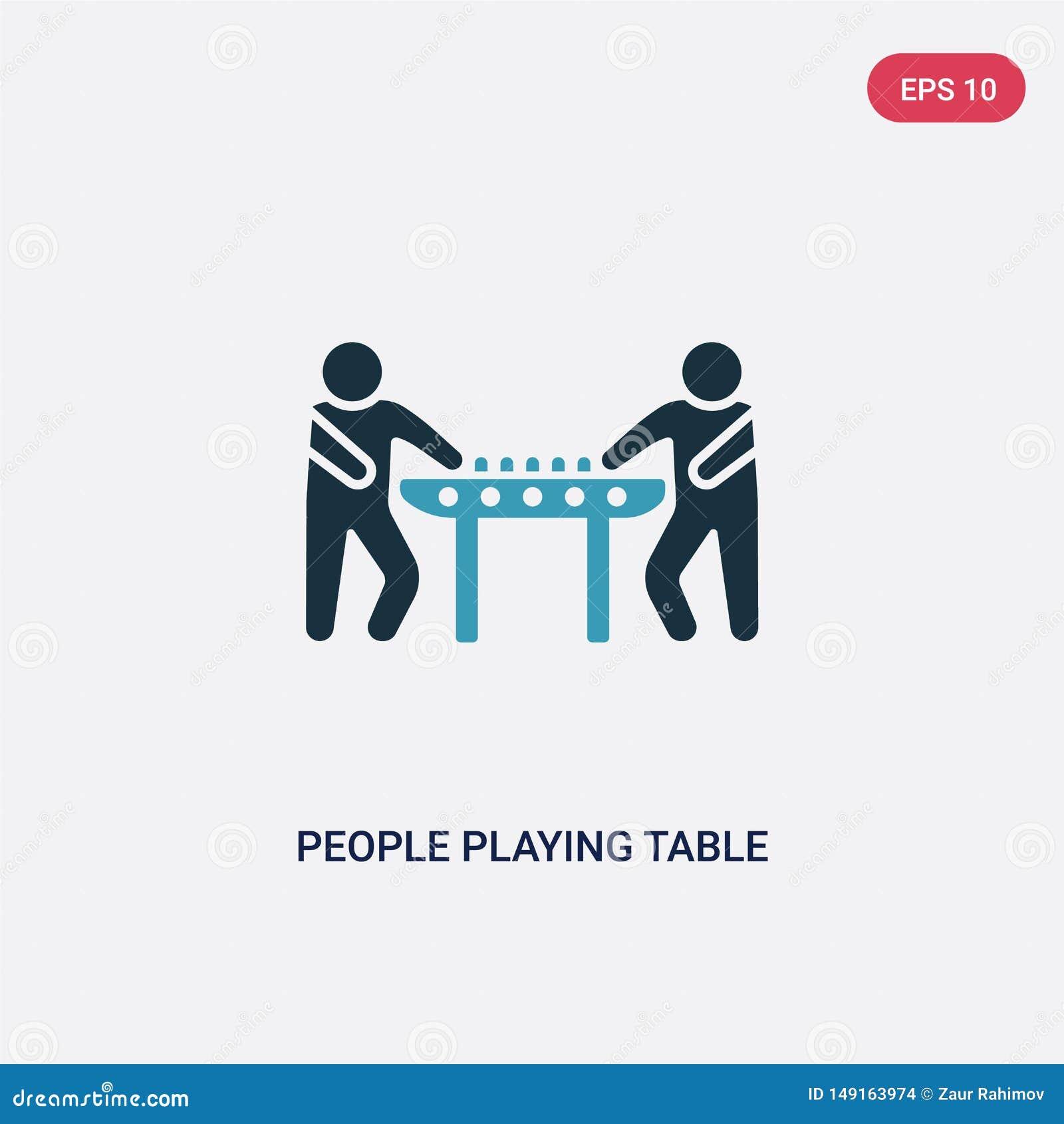 2 люд цвета играя значок вектора настольного футбола от рекреационной концепции игр изолированные голубые люди играя настольный ф