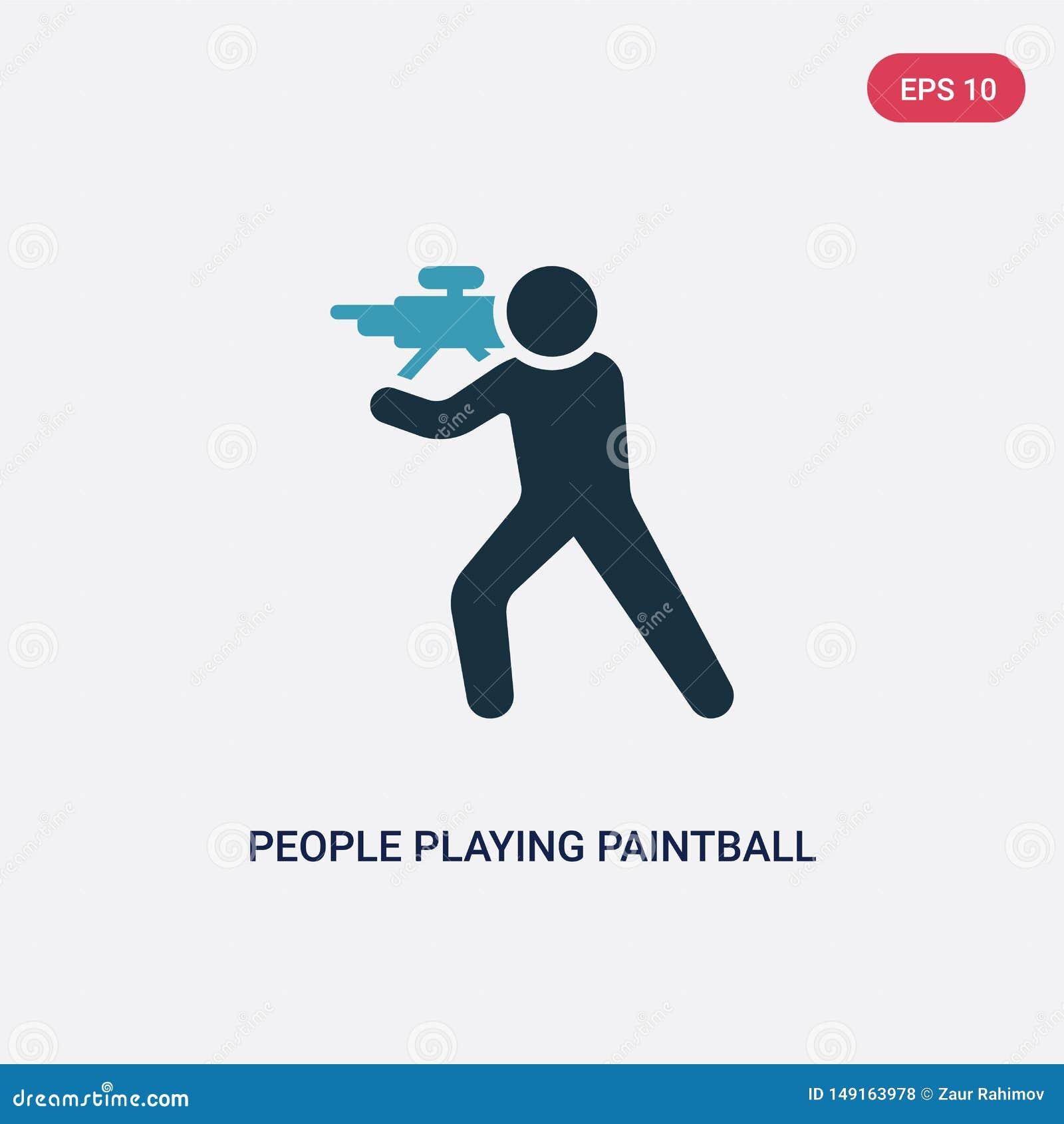 2 люд цвета играя значок вектора пейнтбола от рекреационной концепции игр изолированные голубые люди играя знак вектора пейнтбола