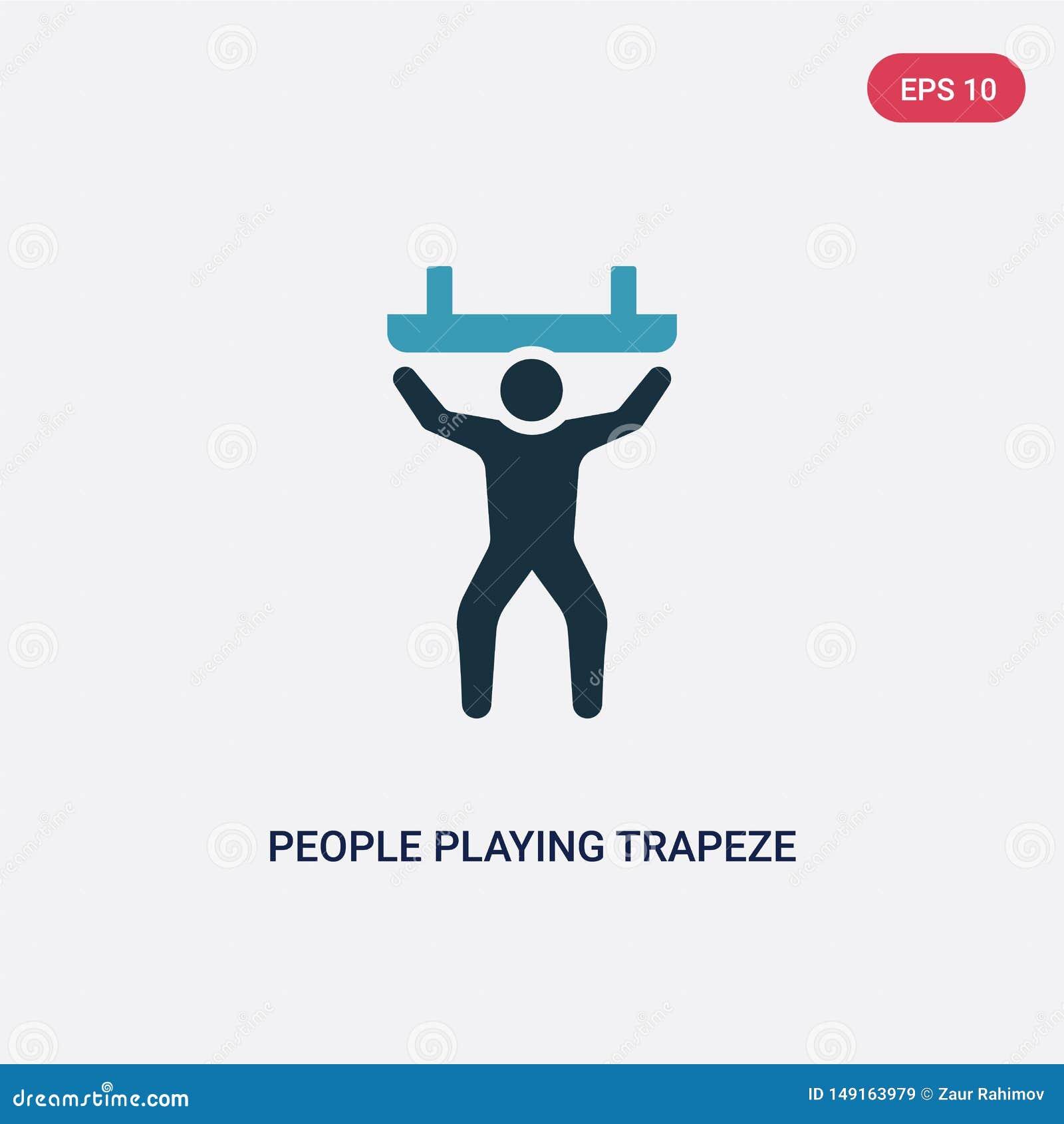2 люд цвета играя значок вектора trapeze от рекреационной концепции игр изолированные голубые люди играя знак вектора trapeze