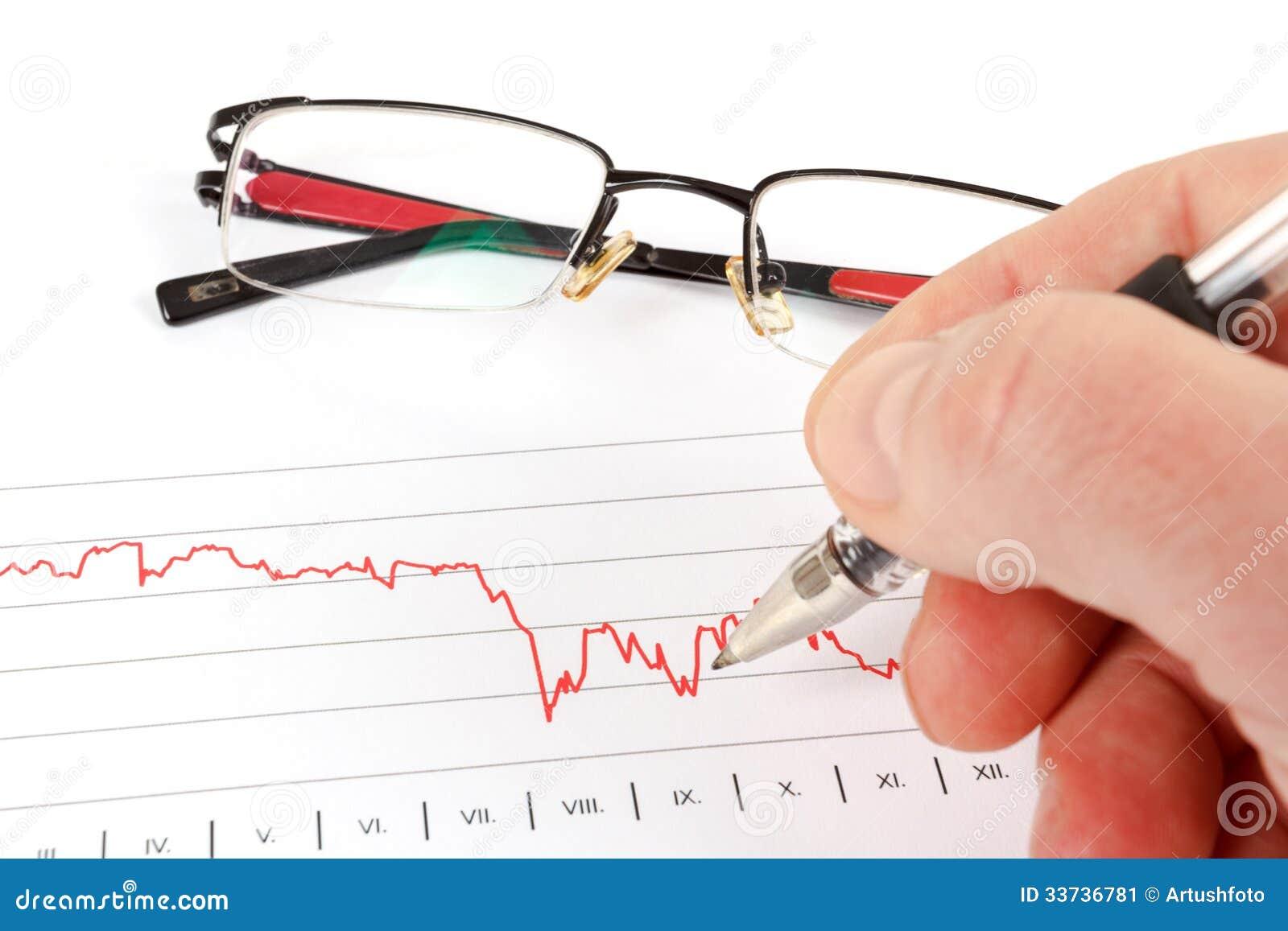 Люди анализируя диаграмму дела с стеклами на заднем плане