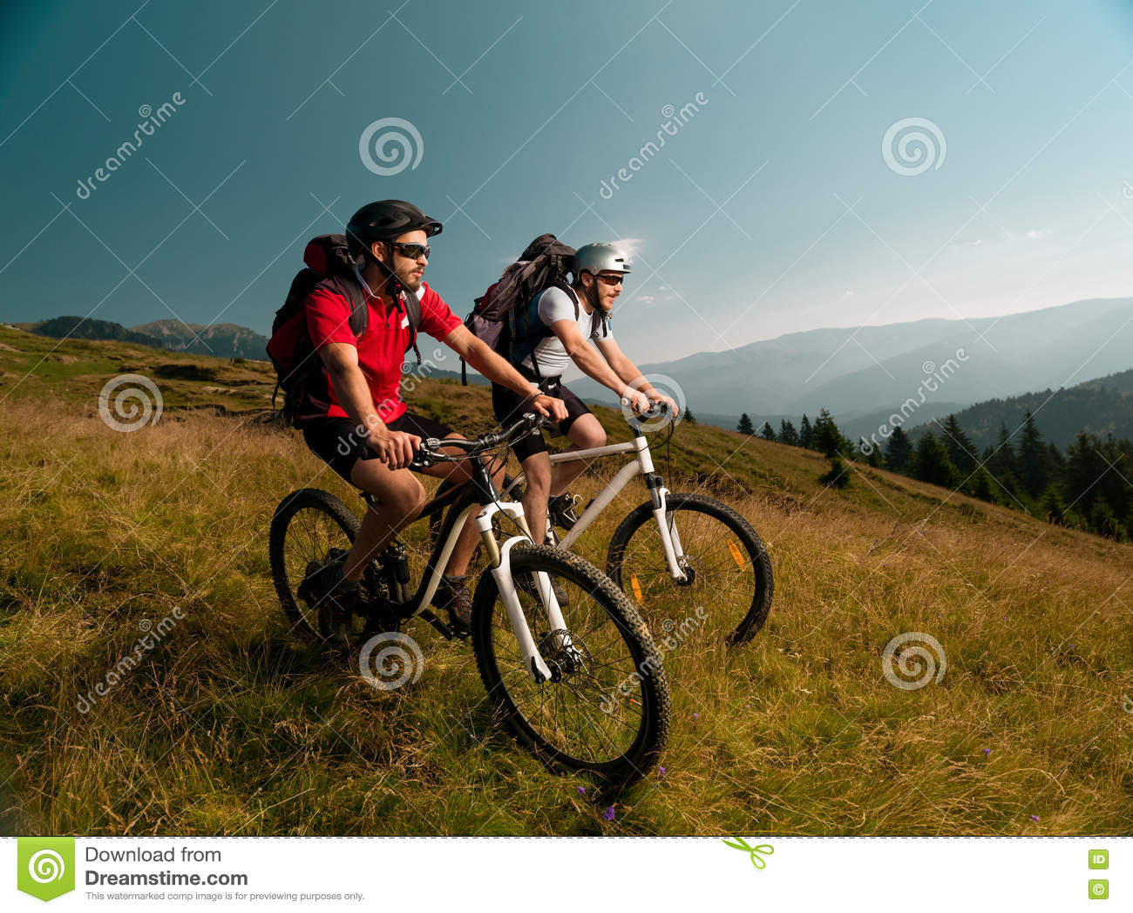 Люди ехать горные велосипеды