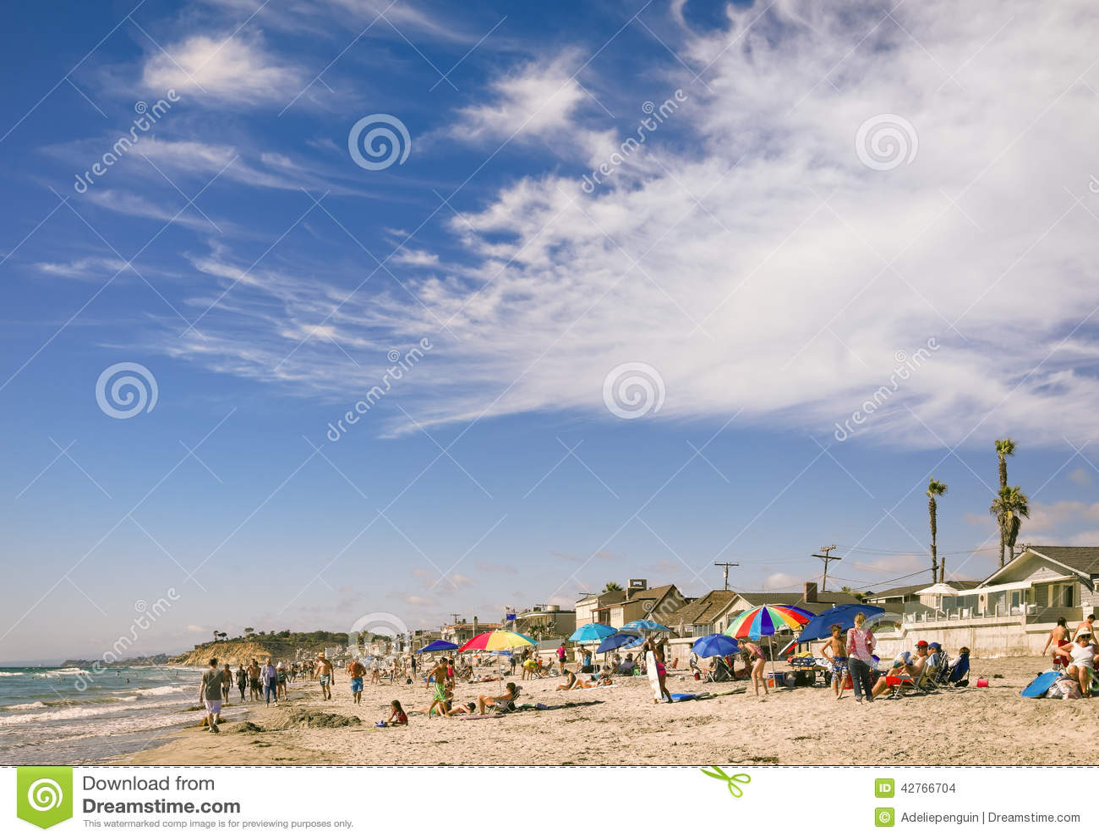 Люди на пляже, Del Mar Калифорнии