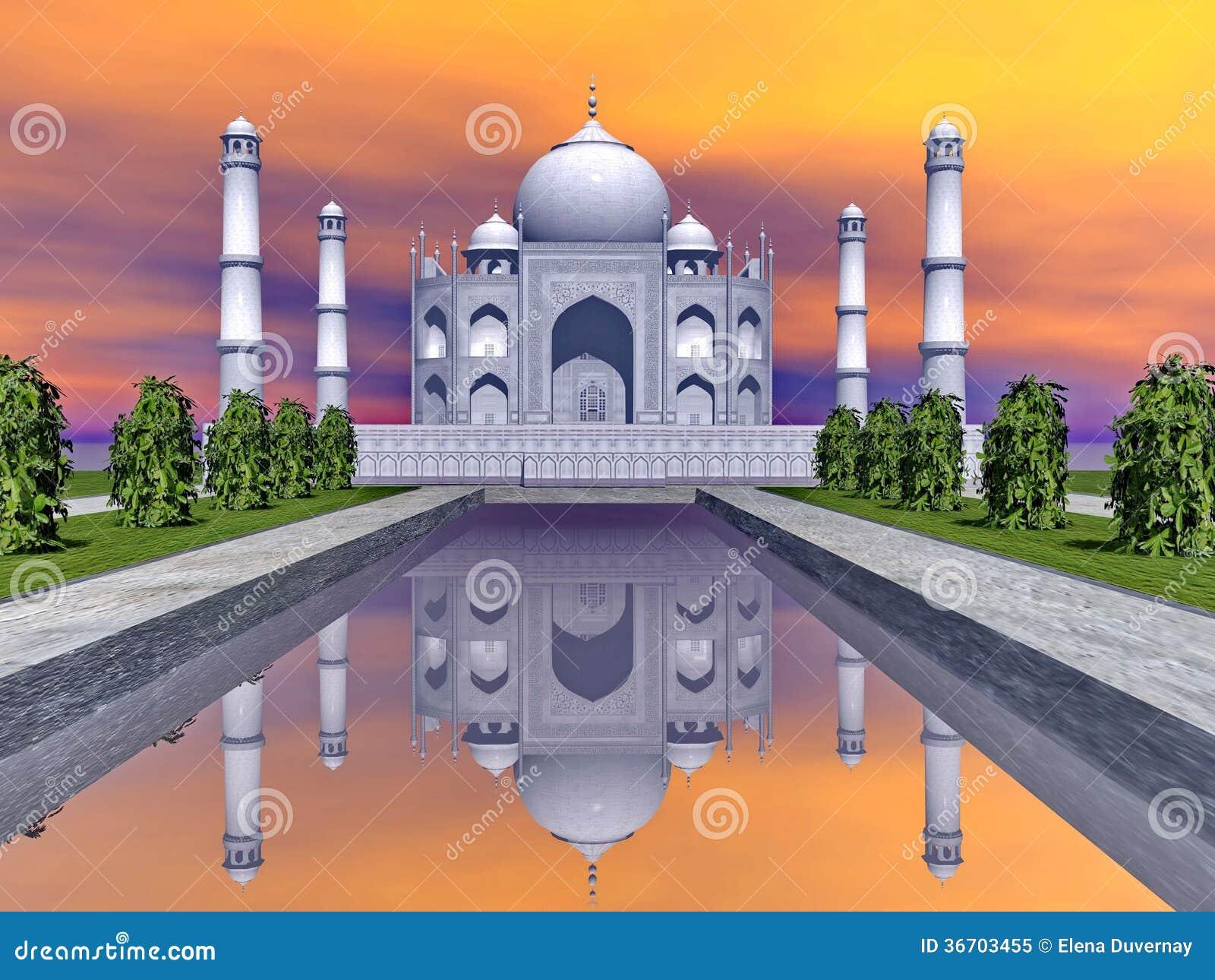 Мавзолей Тадж-Махала, Агра, Индия - 3D представляют