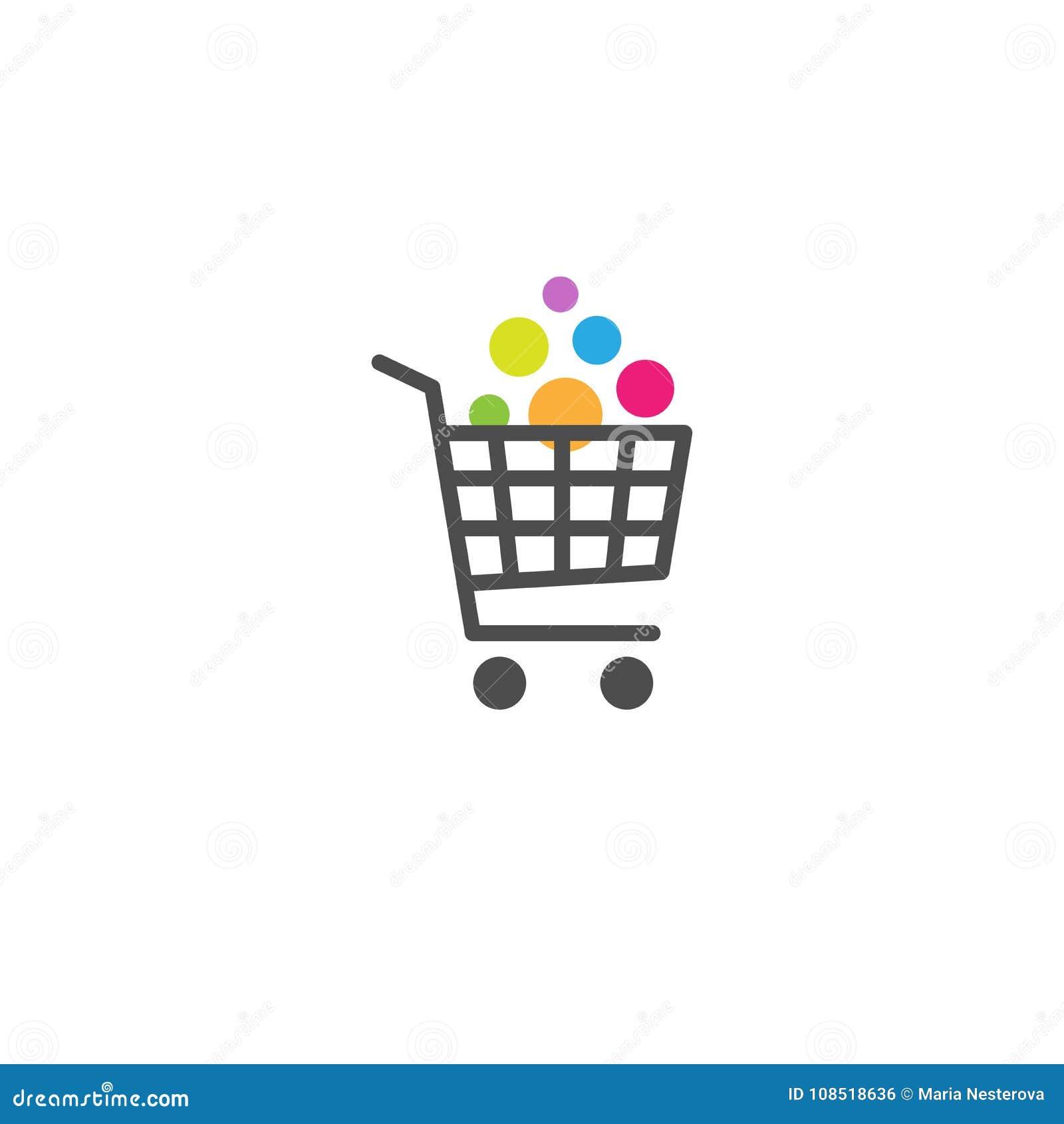 Магазинная тележкаа с кнопкой товаров Яркое приобретение Простой значок изолированный на белой предпосылке Храните вагонетка